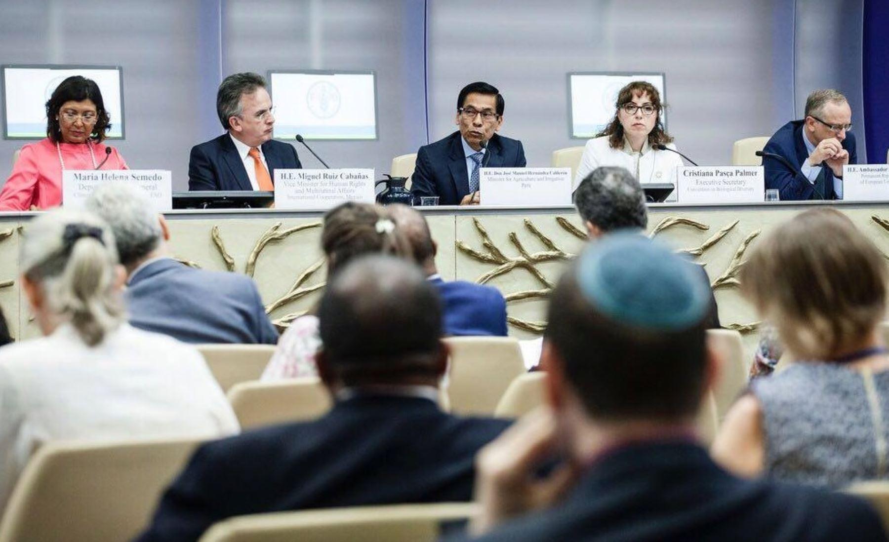 El ministro José Manuel Hernández expuso en Roma, Italia, la Conferencia Bienal de la FAO sobre Cambio Climático, Agricultura y Seguridad Alimentaria.