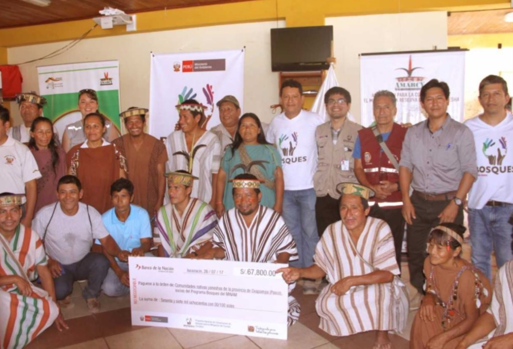 Programa Bosques otorgó incentivos económicos a cinco comunidades yaneshas