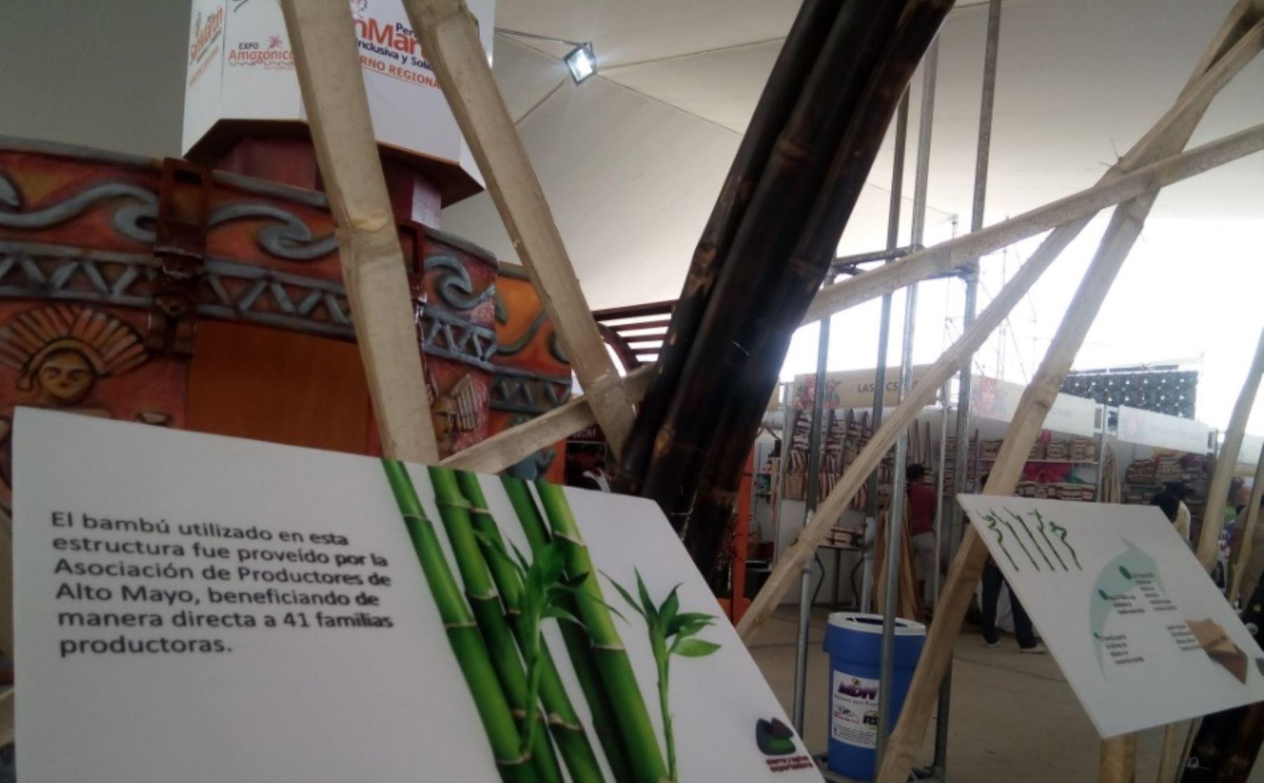 Bajo toda una estructura hecha de bambú, Sierra y Selva Exportadora viene promoviendo esta planta, así como el consumo de paiche durante la feria Expo Amazónica 2017, que se realiza en la región San Martín.ANDINA/Difusión