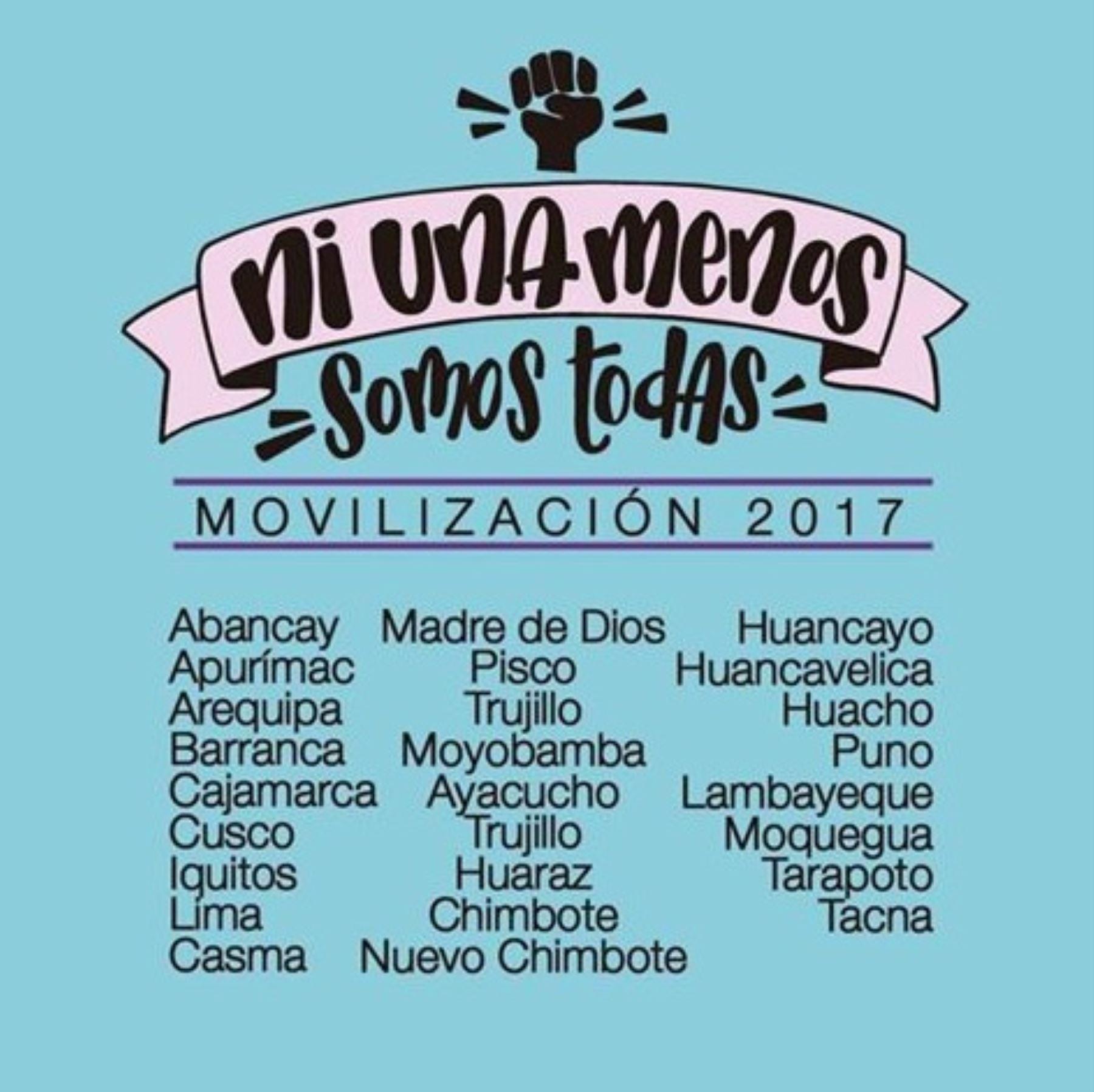 """Movilización """"Ni una menos"""" se realizó en todas las regiones del Perú."""