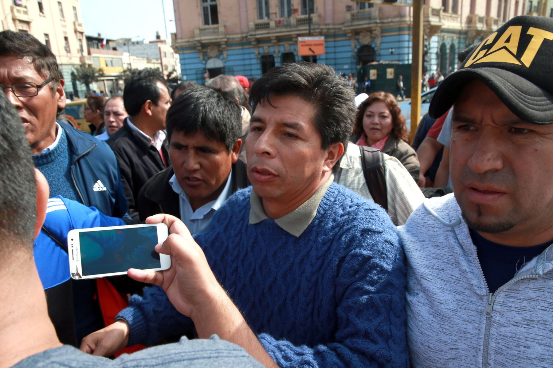LIMA,PERÚ-SETIEMBRE 02. Dirigente Pedro Castillo, anunció la suspensión temporal de la huelga nacional de docentes.Foto:ANDINA/Dante Zegarra.