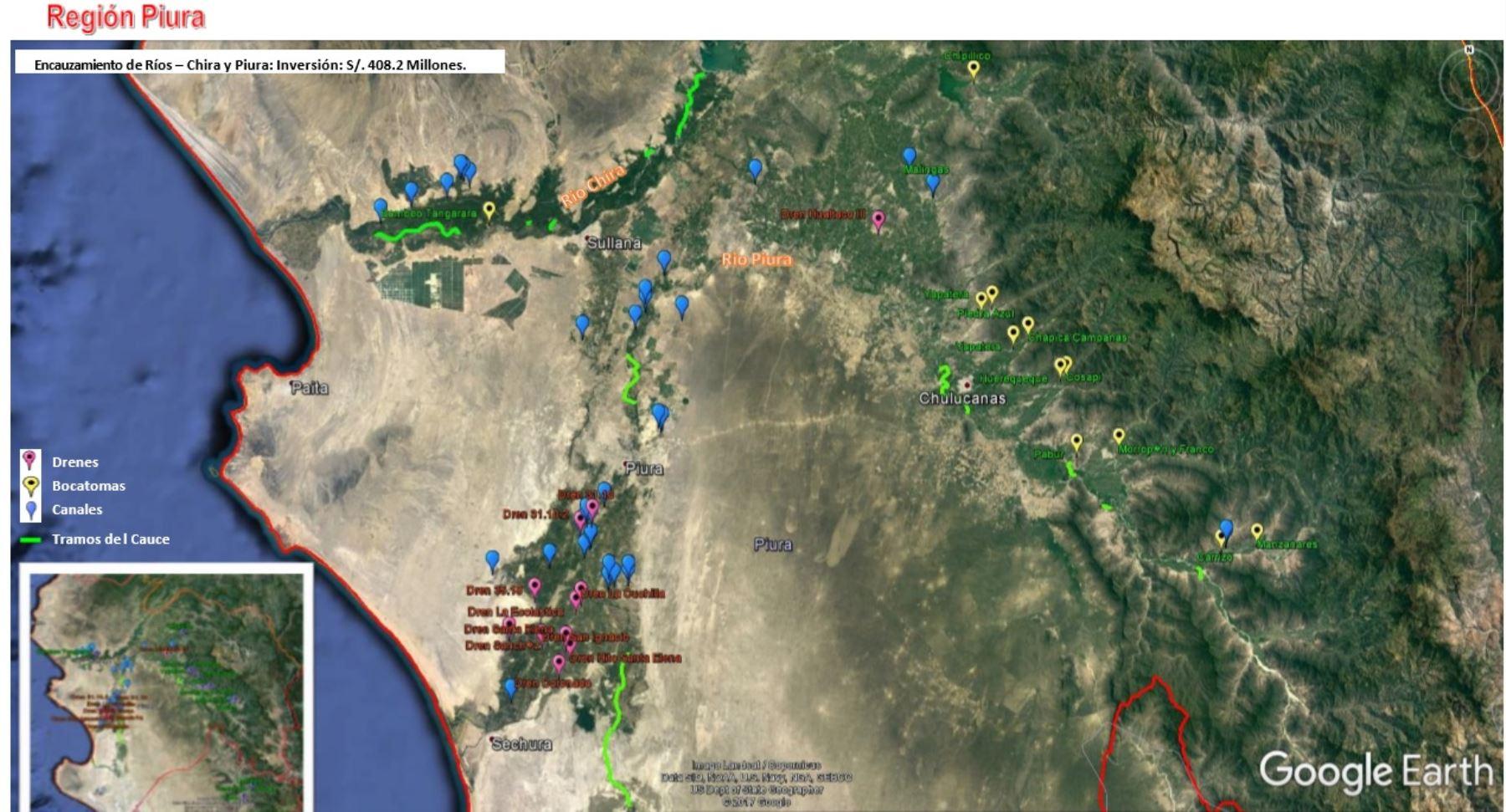 Obras de prevención en la región Piura comprenden encauzamiento de ríos Chira y Piura, con una inversión de 482 millones de soles, informó el Ministerio de Agricultura y Riego.