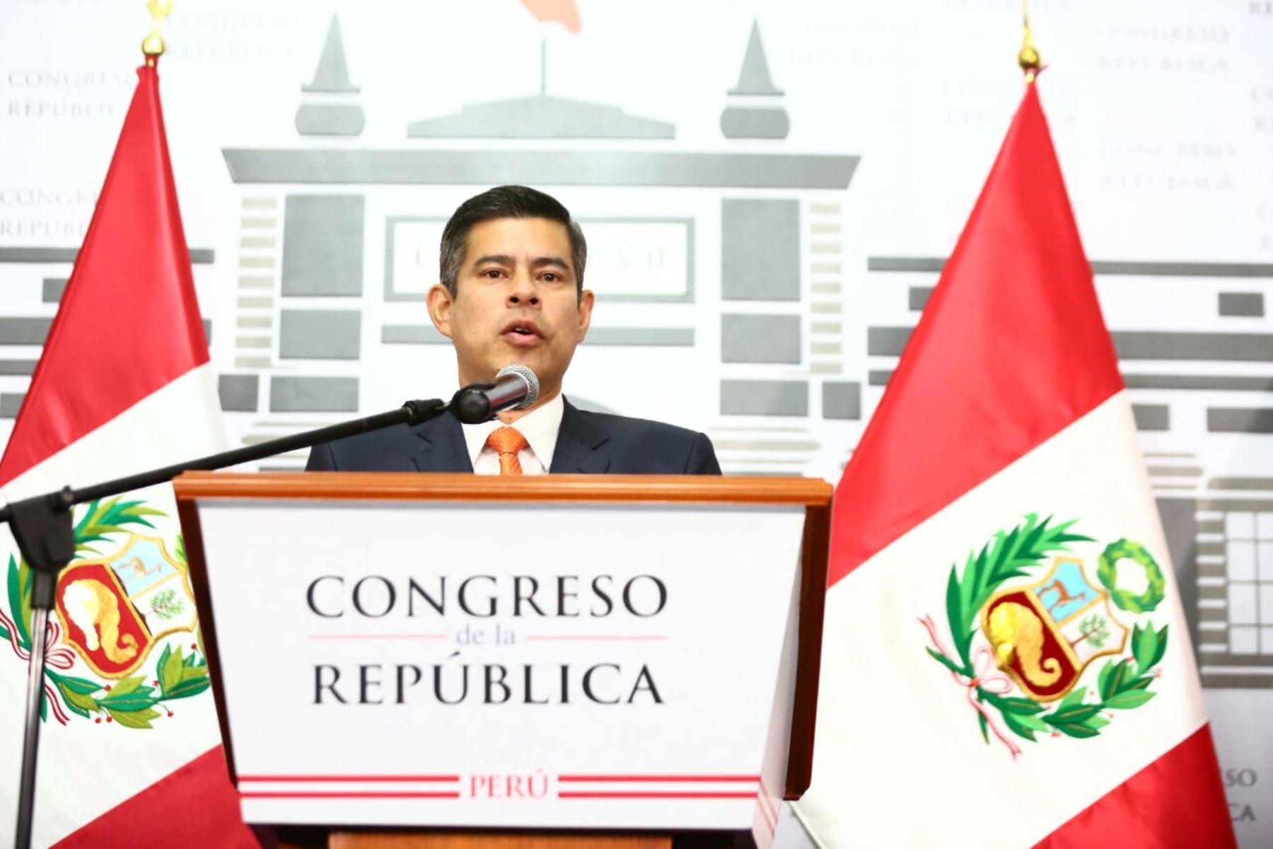 Conferencia de prensa del presidente del Congreso, Luis Galarreta. Foto: ANDINA/ Difusión.