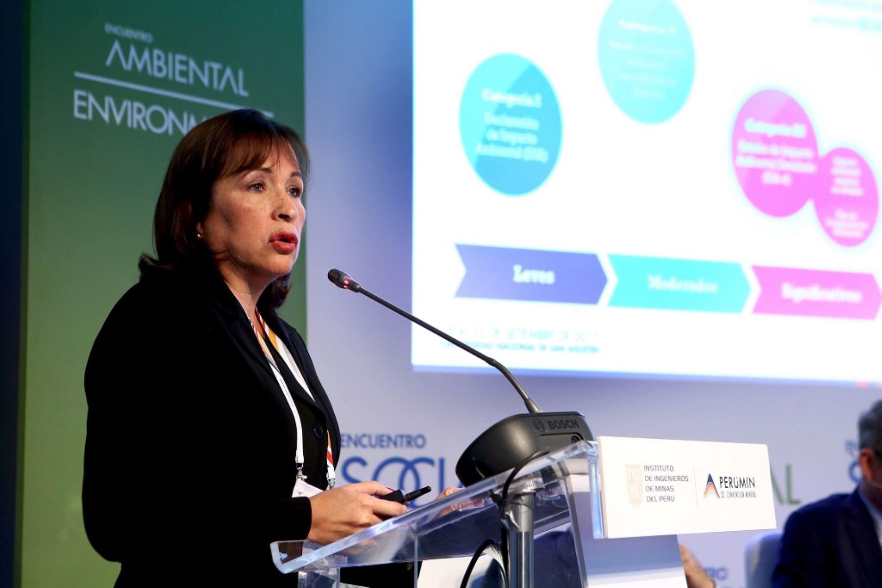Ministra del Ambiente, Elsa Galarza. Fuente. Perumin