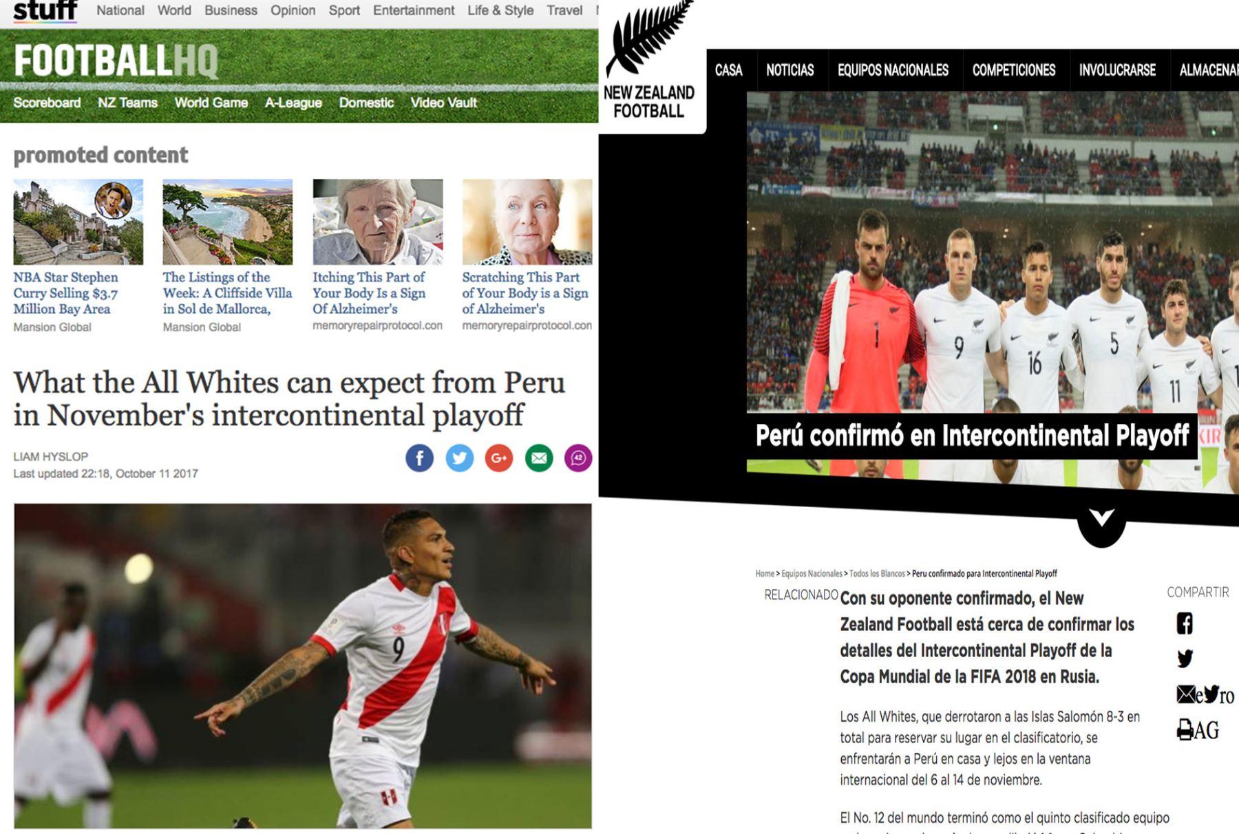 Medios de comunicación de Nueva Zelanda informan sobre el partido con Perú.