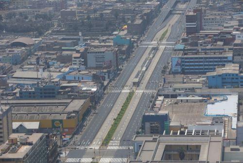 Calles de Lima, lucen vacías con restricciones de la cuarentena.ANDINA/Jhony Laurente