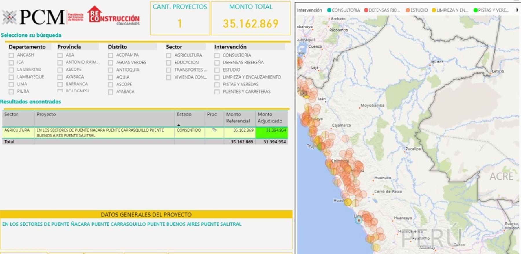 La Autoridad para la Reconstrucción con Cambios (ARCC) implementó en su portal web el Mapa de la Reconstrucción, un aplicativo que permite visualizar el estado actual de las más de 10,000 intervenciones en ejecución, en las regiones afectadas por El Niño Costero.