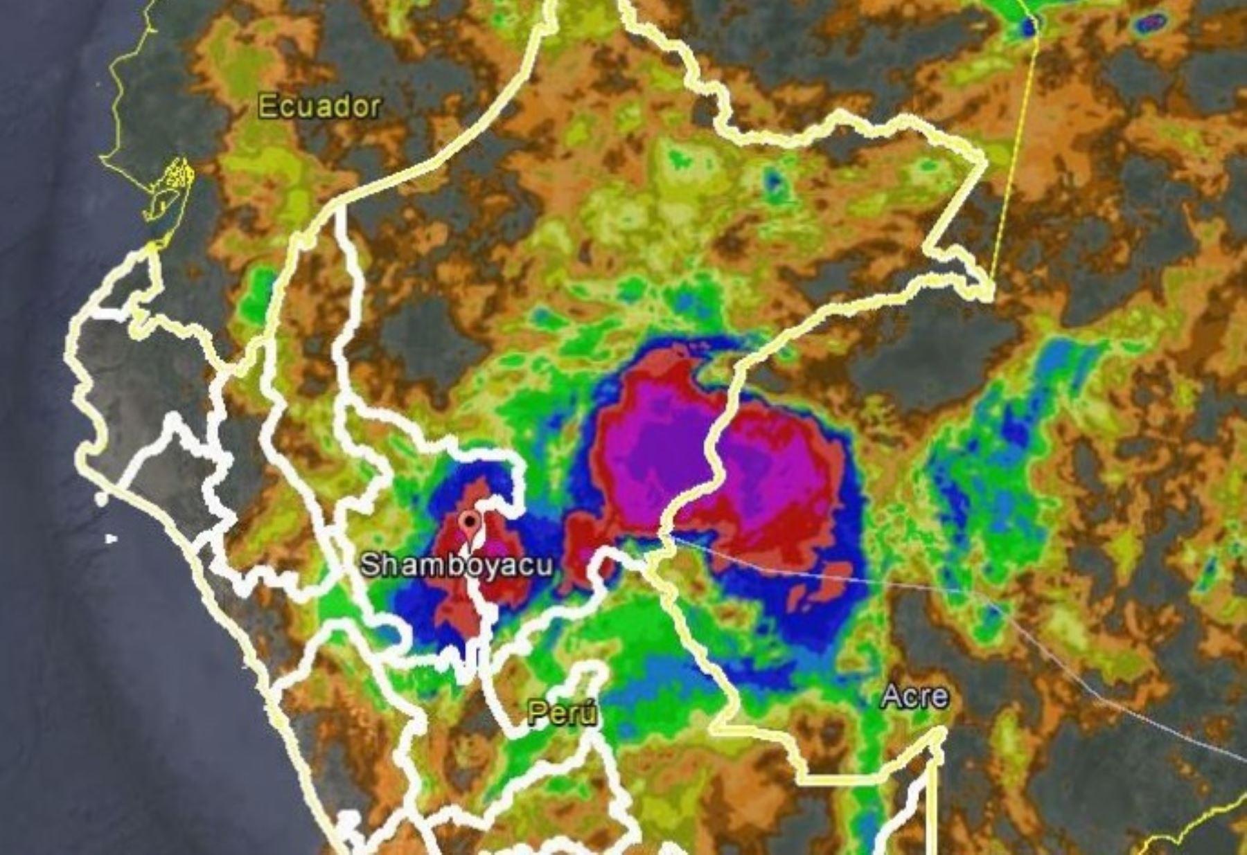 Las intensas lluvias registradas anoche sobre la región San Martín alcanzaron valores récord en el distrito de Shamboyacu, perteneciente a la provincia de Picota, lo que produjo desbordes e inundaciones que afectaron a las poblaciones de la zona, informó el Servicio Nacional de Meteorología e Hidrología (Senamhi).