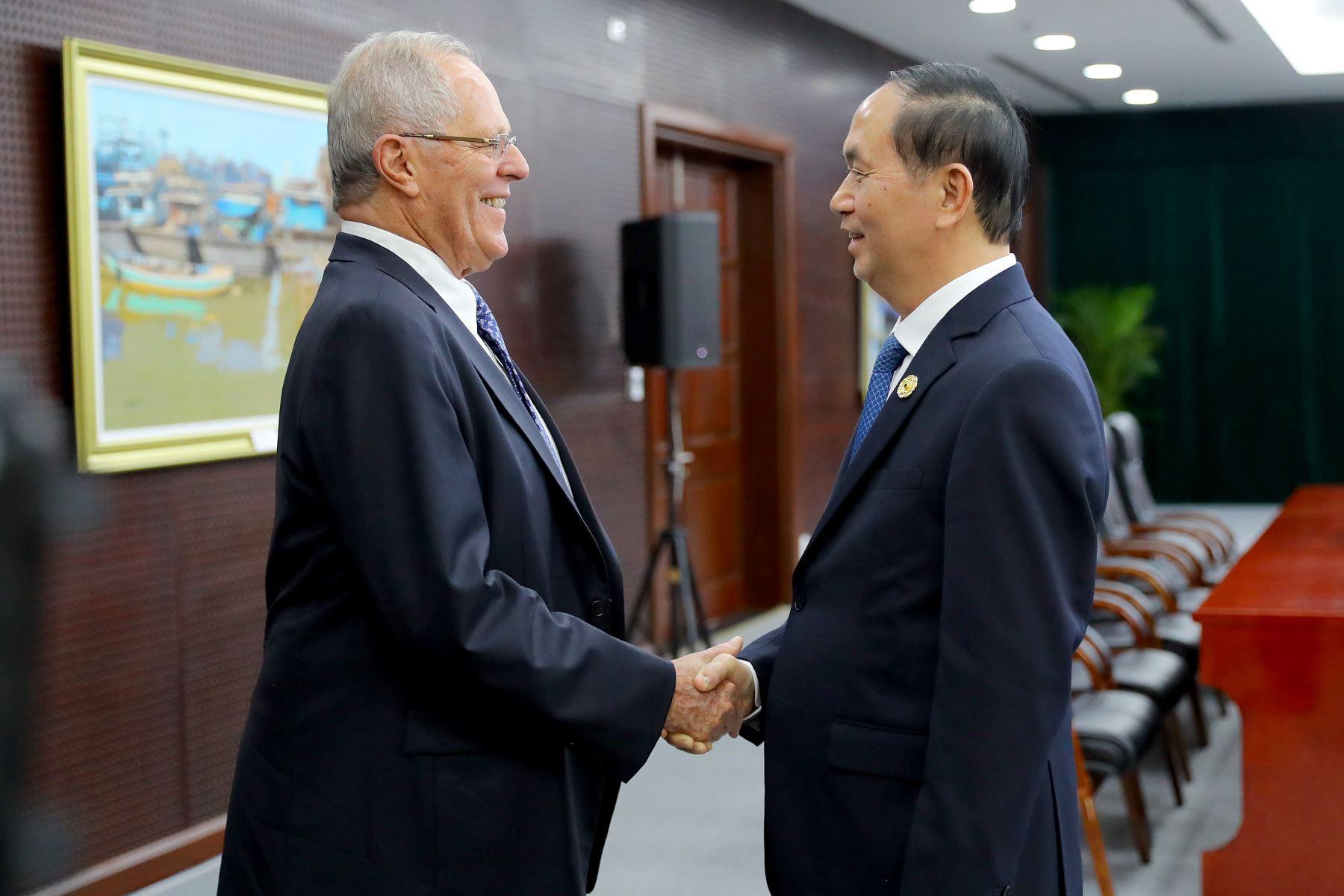 Presidente Kuczysnki sostuvo reunión bilateral con su homólogo de Vietnam, Tran Dại Quang.  Foto: ANDINA/Prensa Presidencia