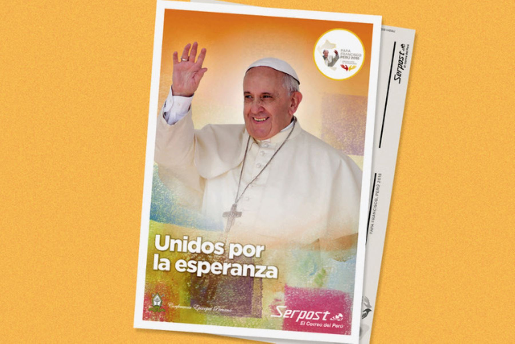 Postal conmemorativa por visita del papa Francisco a Perú. Foto: CEP/ANDINA.
