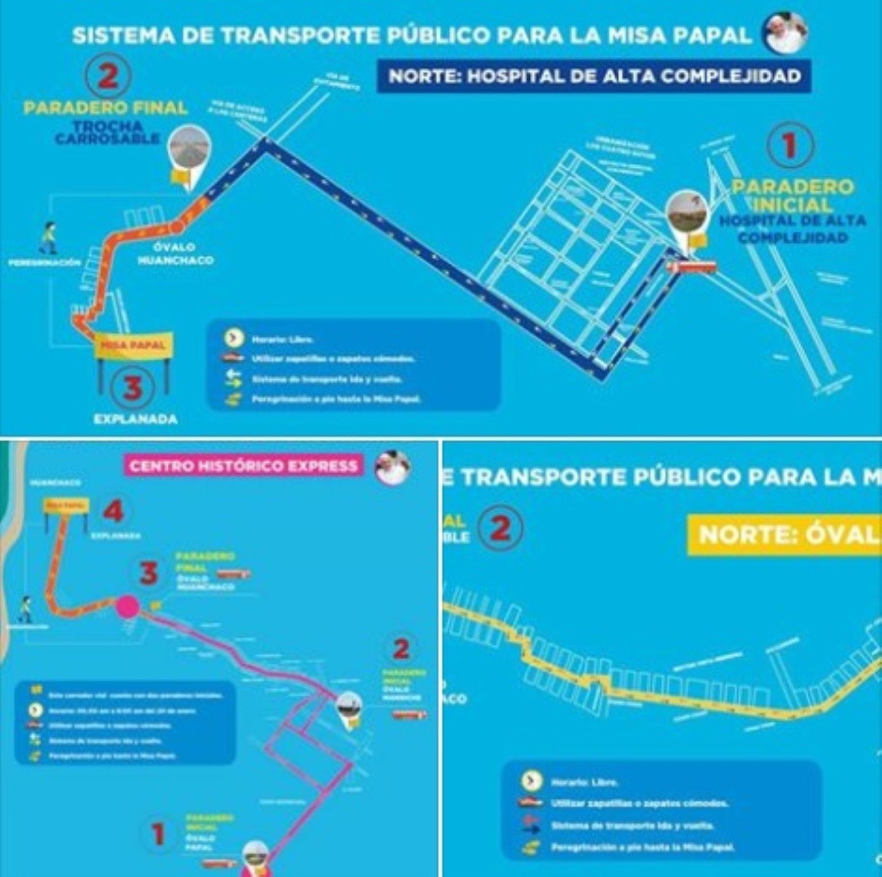 El Arzobispado Metropolitano de Trujillo, en coordinación con la Policía Nacional del Perú y la Gerencia Regional de Transporte de La Libertad, definieron los corredores viales por donde se desplazarán los peregrinos y los vehículos durante la visita del Papa Francisco a la ciudad de Trujillo, el próximo sábado 20 de enero.