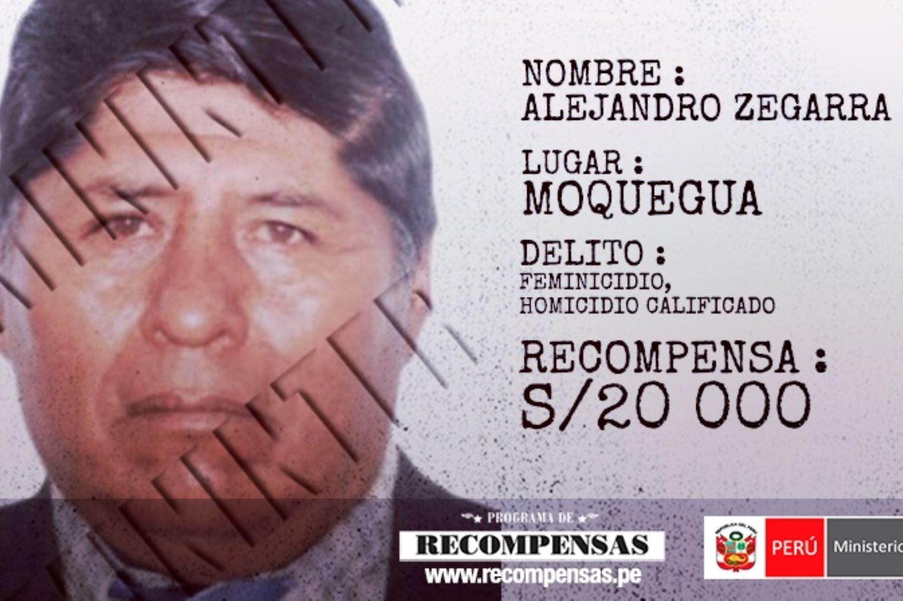 Alejandro Zegarra Candia, buscado por los ilícitos de homicidio calificado y feminicidio.