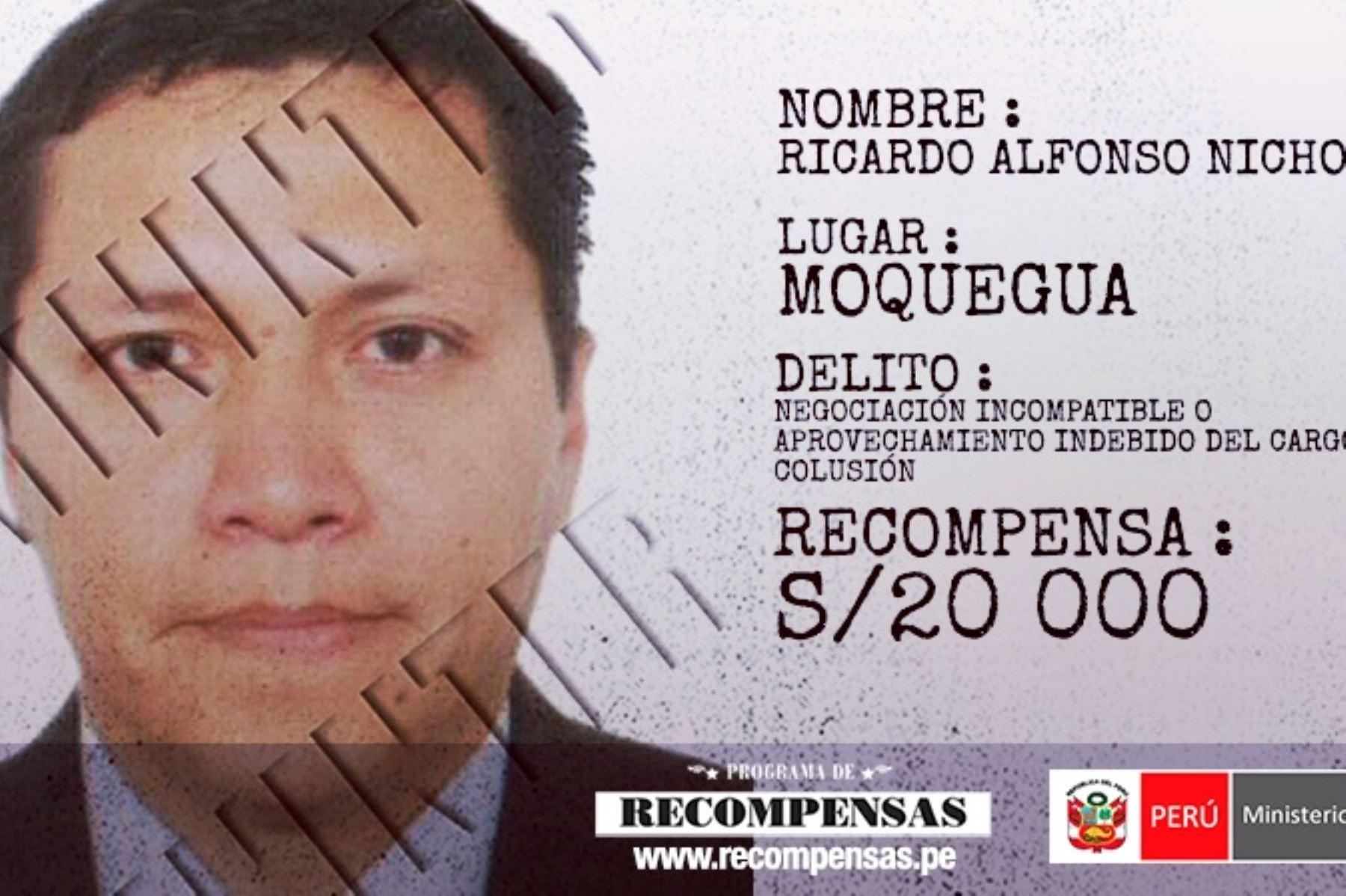 exfuncionario del municipio provincial de Mariscal Nieto, Ricardo Alfonso Nicho Ríos, procesado por los delitos de colusión, negociación incompatible o aprovechamiento indebido del cargo y peculado.