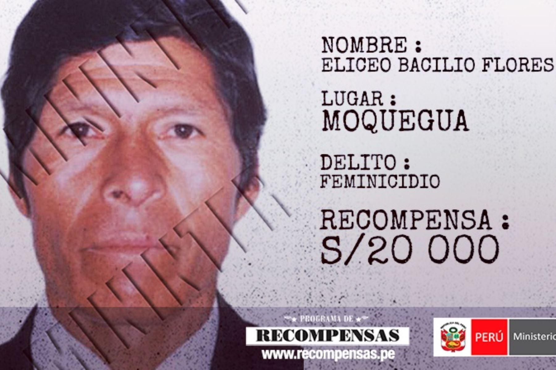Eliceo Bacilio Flores Pauro, requisitoriado por el delito de feminicidio al presuntamente asesinar a su pareja.