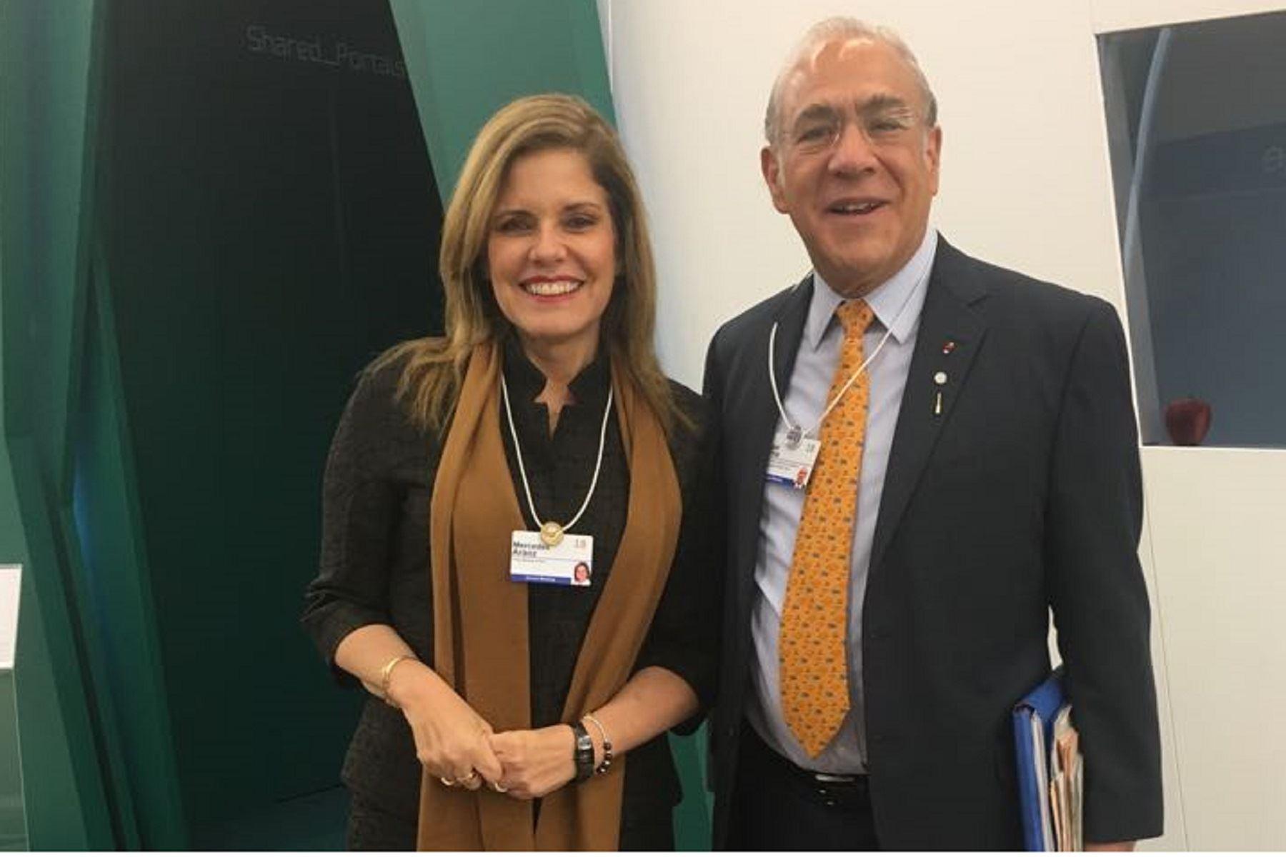 Titular de la PCM, Mercedes Aráoz y el secretario general de la OCDE, Ángel Gurría. Foto: PCM.