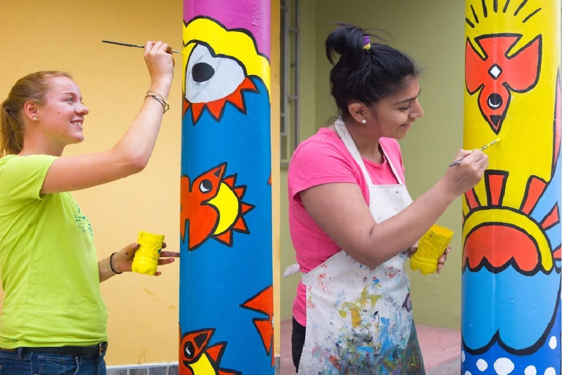 Pintan murales con iconografía de cultura Lambayeque en Túcume. ANDINA