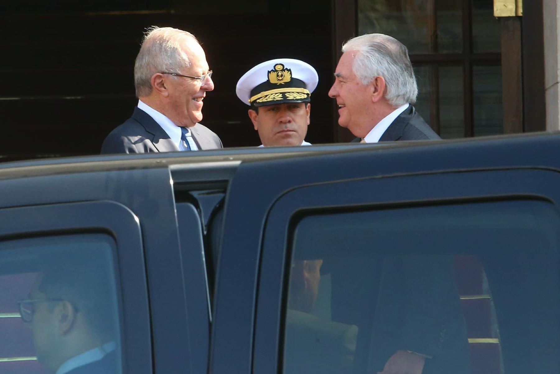 Presidente Pedro Pablo Kuczynski y secretario de Estado de Estados Unidos, Rex Tillerson.