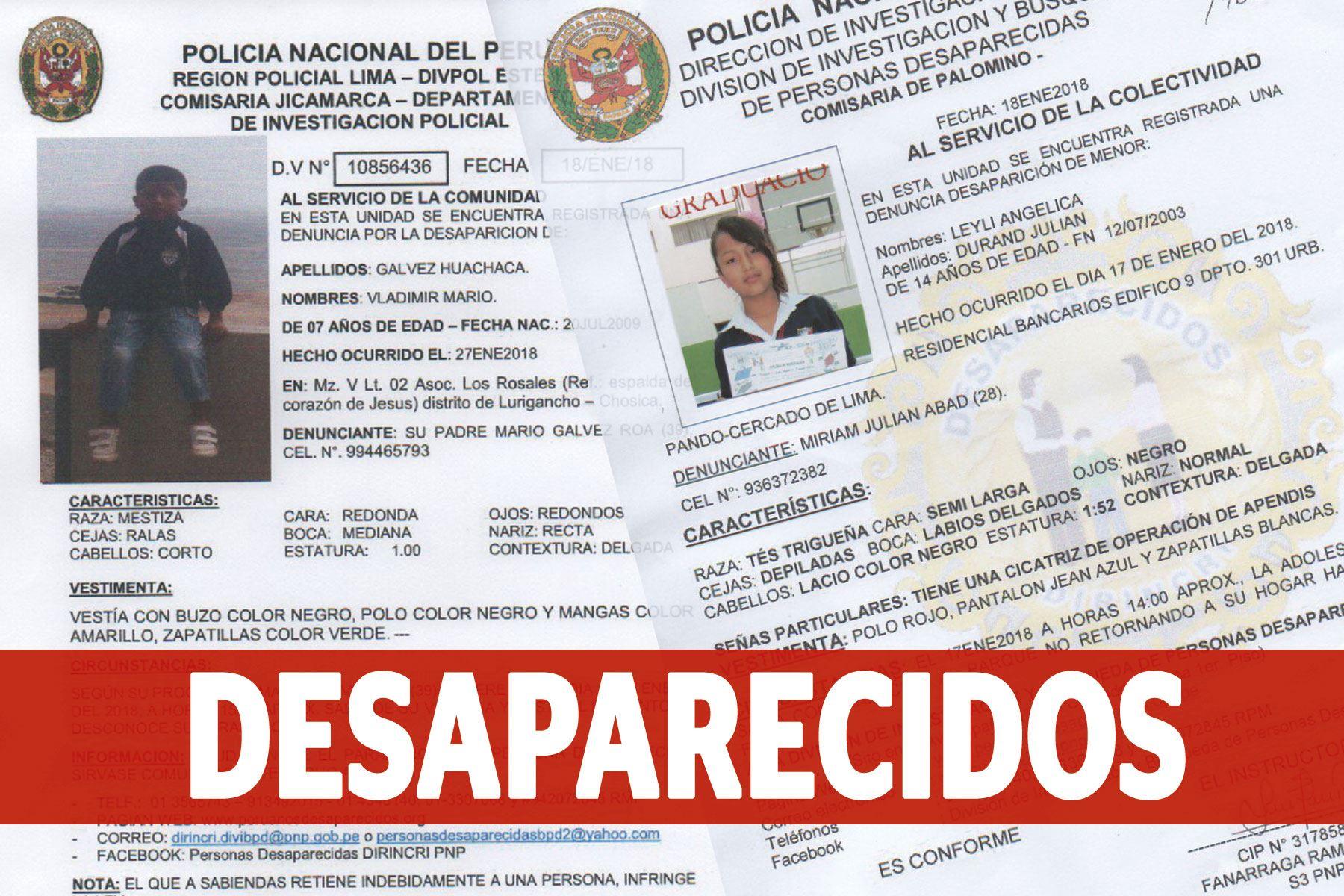 Ministerio del Interior publica alerta sobre menores desaparecidos. Cualquier información llamar al 4318140, 3307068. ANDINA