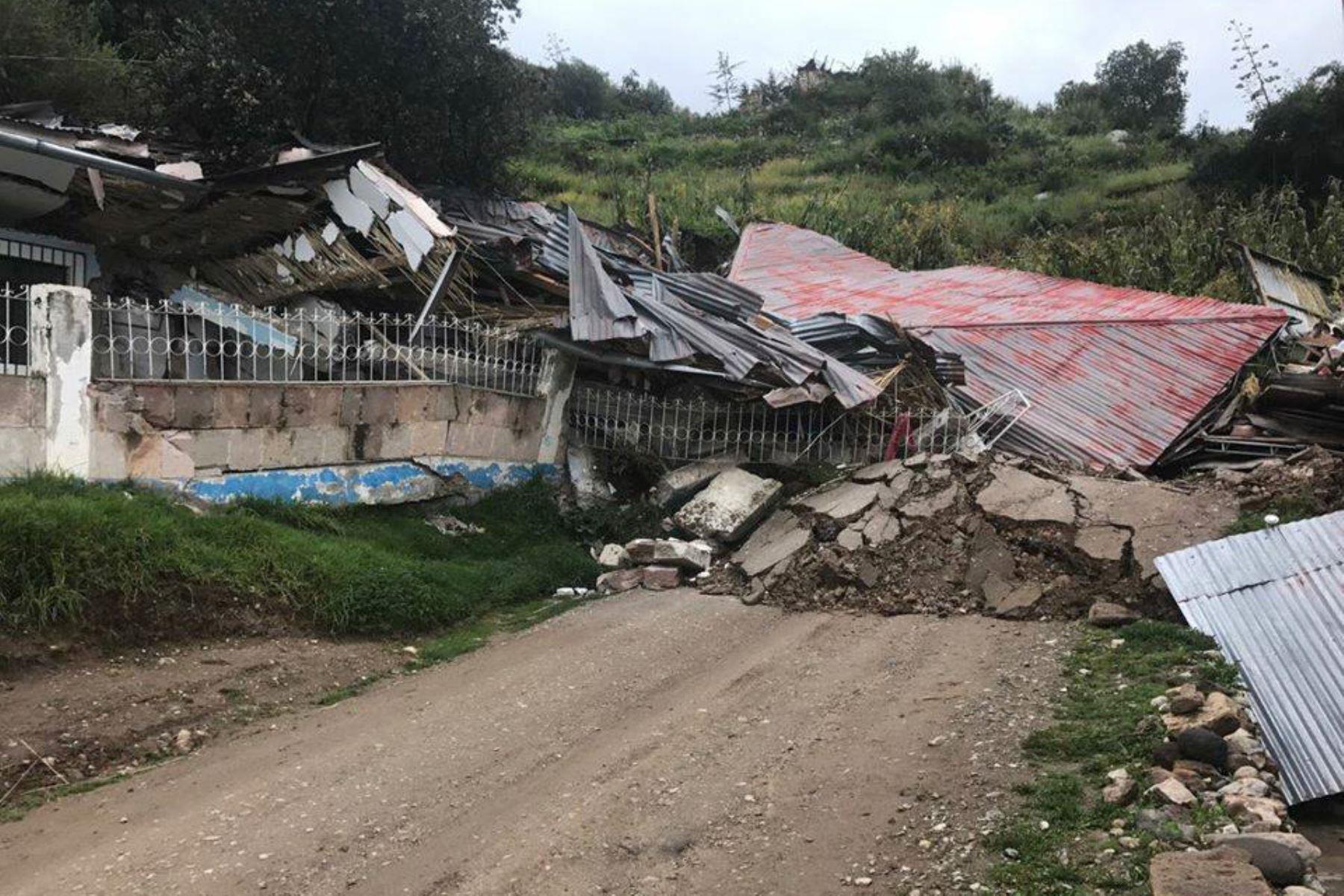 Falla geológica causó daños en distrito de Llusco, en Cusco. ANDINA/Difusión