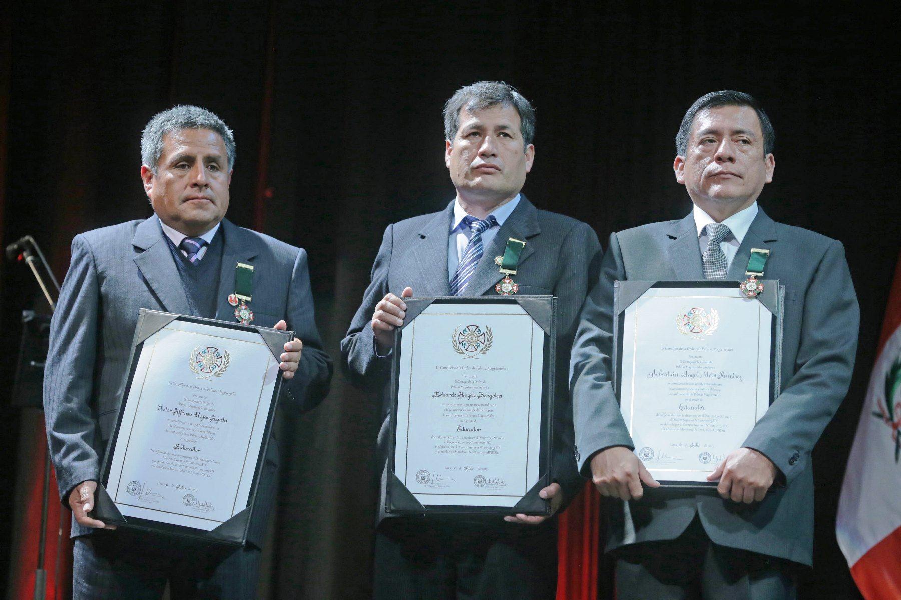 Ganadores de las Palmas Magisteriales. Foto: ANDINA/Difusión.