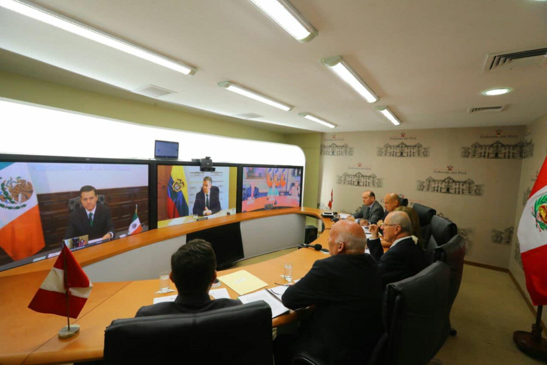 Presidente Kuczynski participó de cumbre virtual junto a sus homólogos de Chile, Colombia y México, de la Alianza del Pacífico, con una visión estratégica al 2030. Foto: ANDINA/Prensa Presidencia
