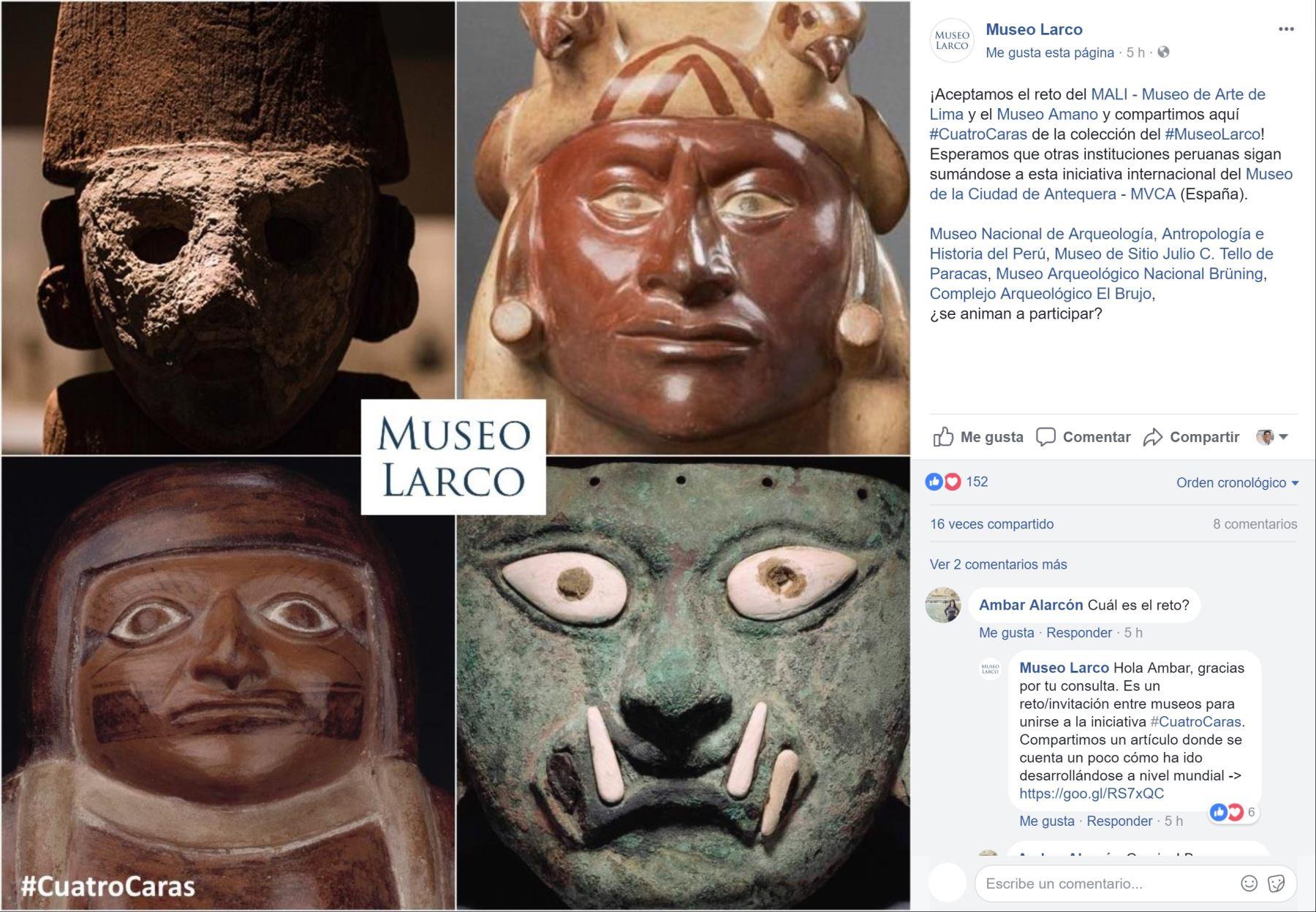 Participación del Museo Larco en reto #CuatroCaras