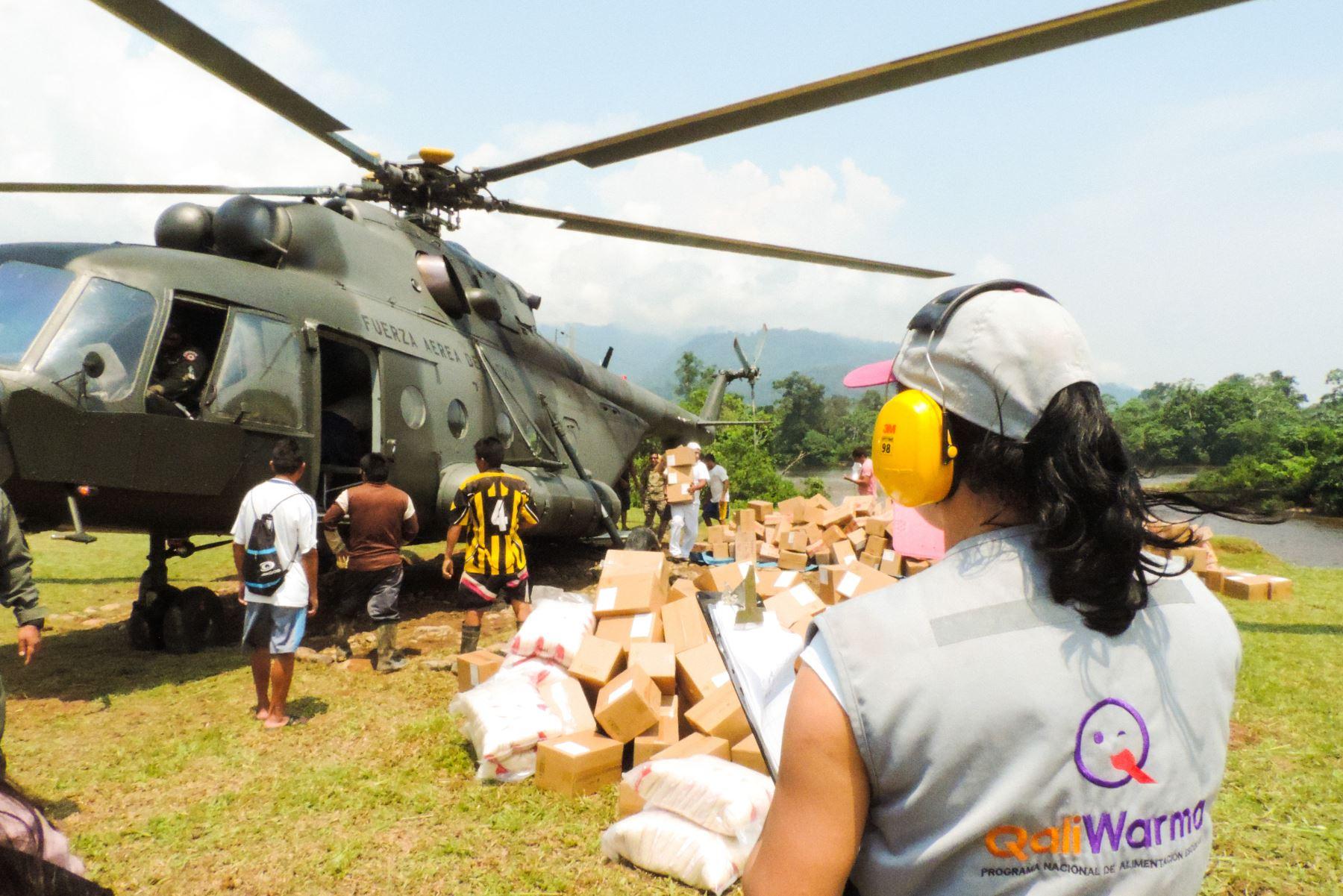 Qali Warma traslada alimentos en vuelos a comunidades indígenas de Amazonas. ANDINA/Difusión
