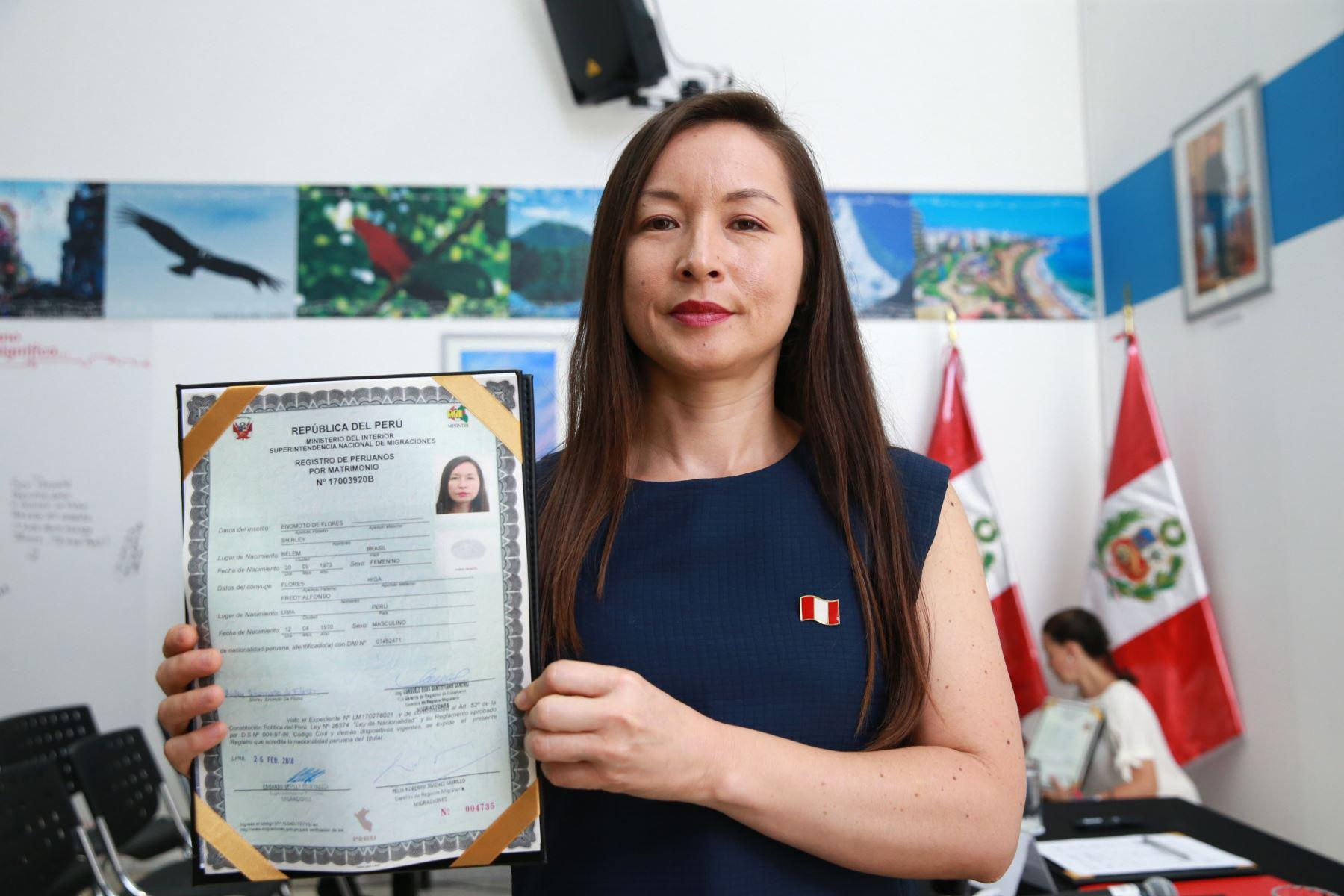Shirley Enomoto de Flores, Brasileña . Foto: ANDINA/Norman Córdova
