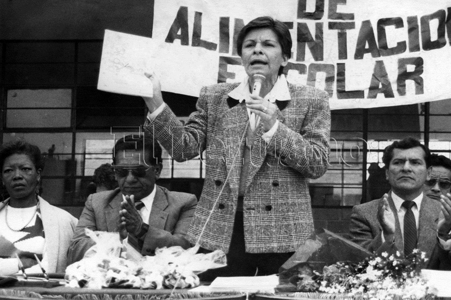 1987. Mercedes Cabanillas fue ministra de Educación en el primer gobierno aprista y también presidenta del Congreso entre el 2006 y 2007, en el segundo gobierno de Alan García.
