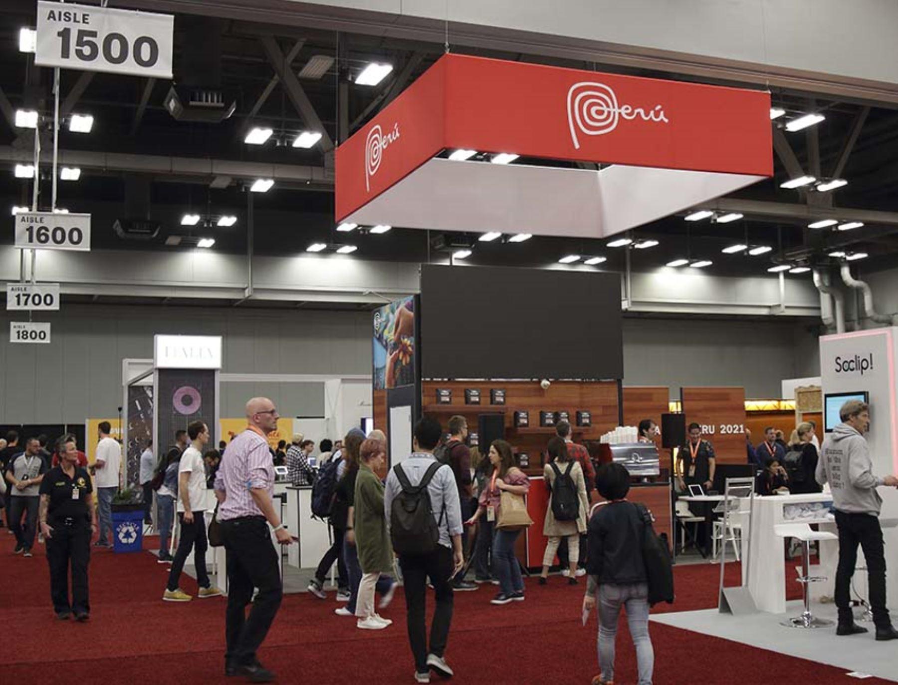 El stand de la Marca Perú en el festival SXSW presenta las innovaciones de 7 startups y 4 empresas peruanas vinculadas a la tecnología. Foto: Promperú