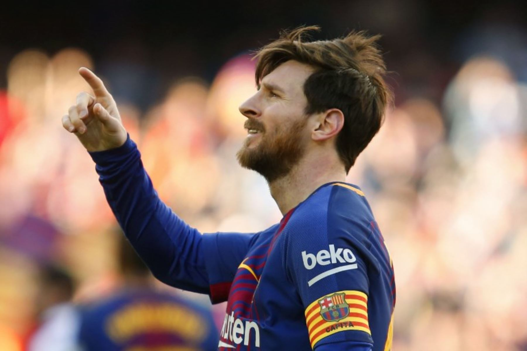 Lionel Messi celebra después de anotar durante el partido de fútbol de la Liga española, contra el Athletic Club Bilbao en el estadio Camp Nou de Barcelona.Foto:AFP