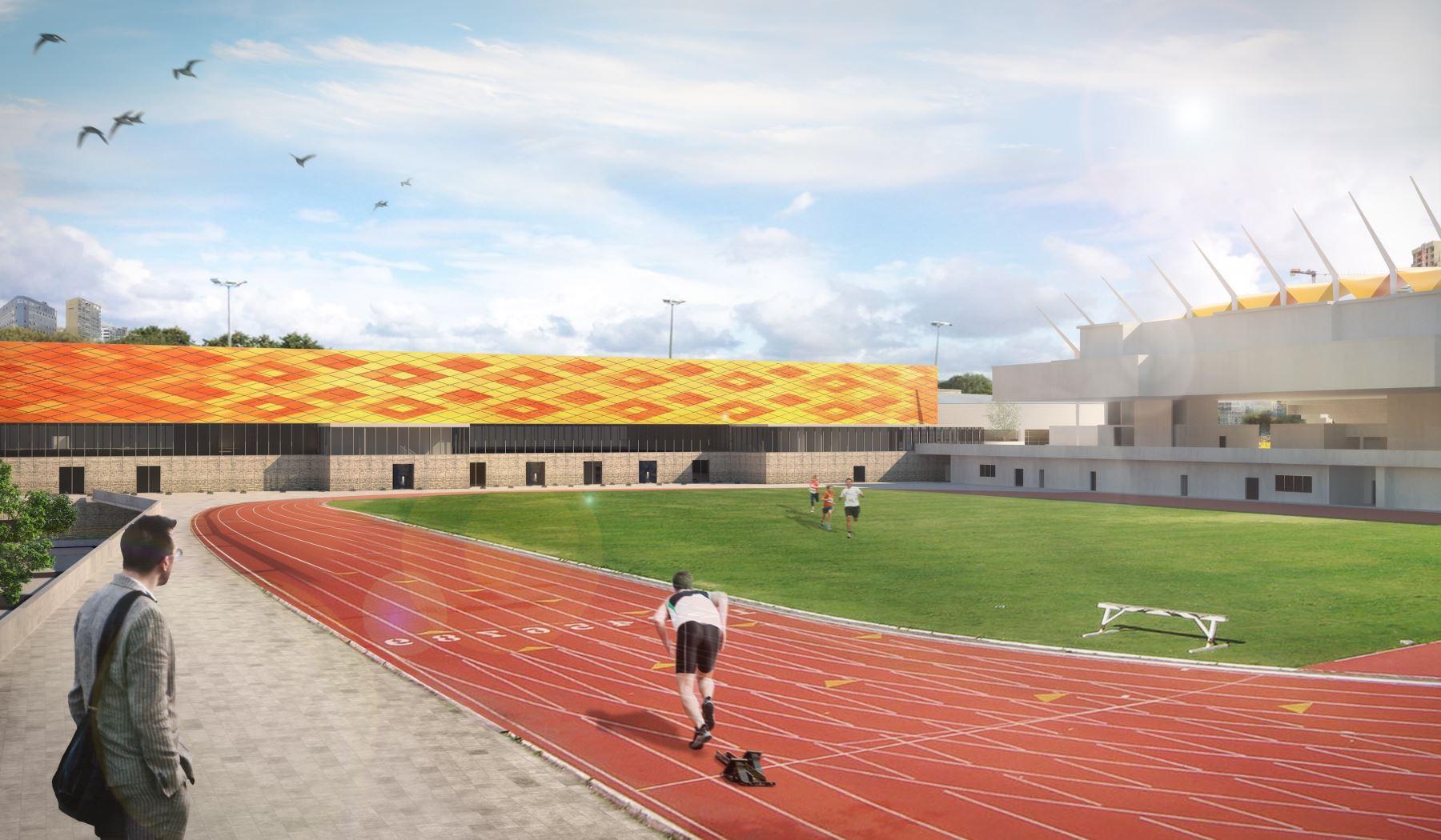Cancha de calentamiento de Atletismo en la Videna en 3dCortesía