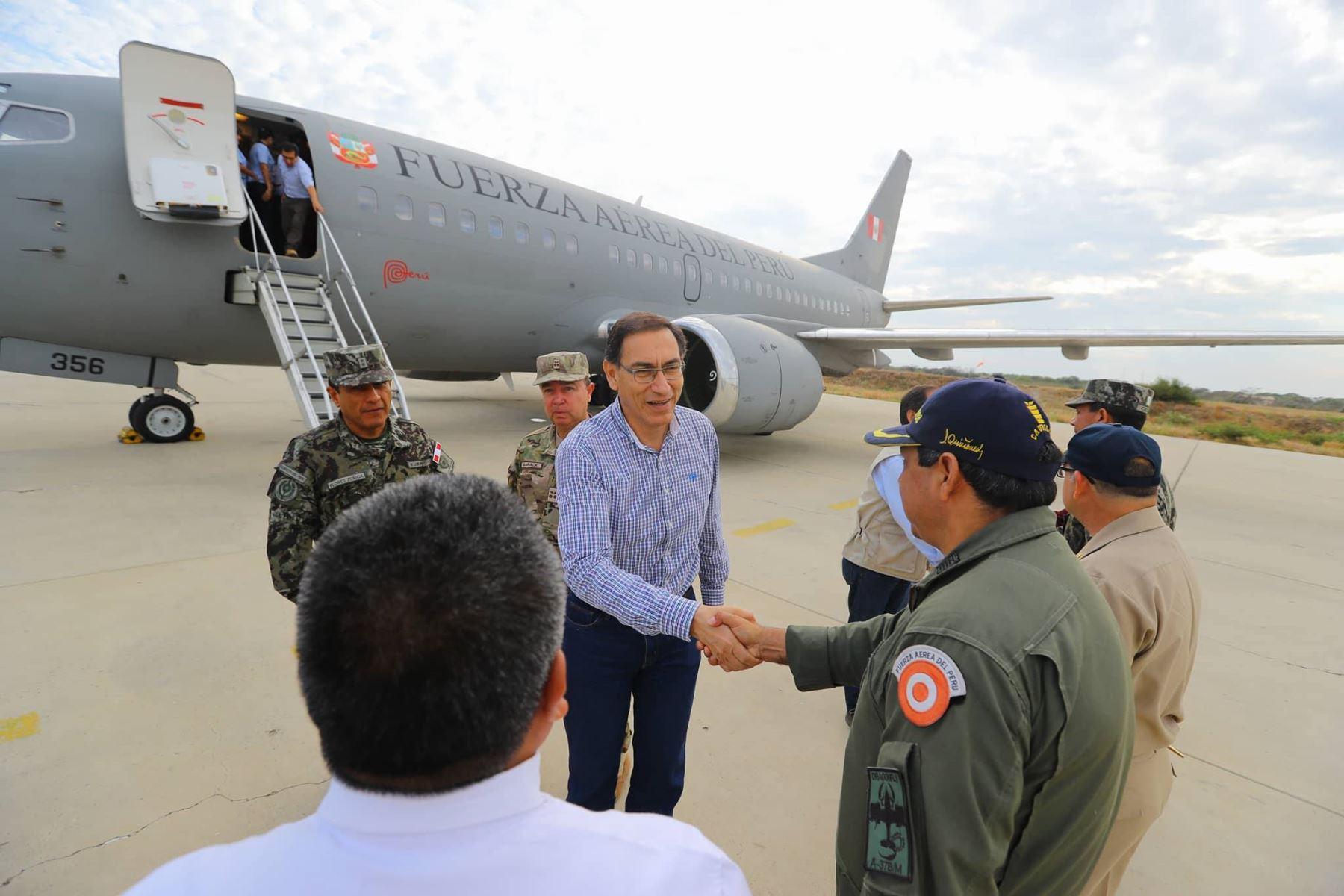 Presidente Martín Vizcarra llega a la región de Piura, a fin de constatar la situación de los damnificados. Foto: ANDINA/ Prensa Presidencia