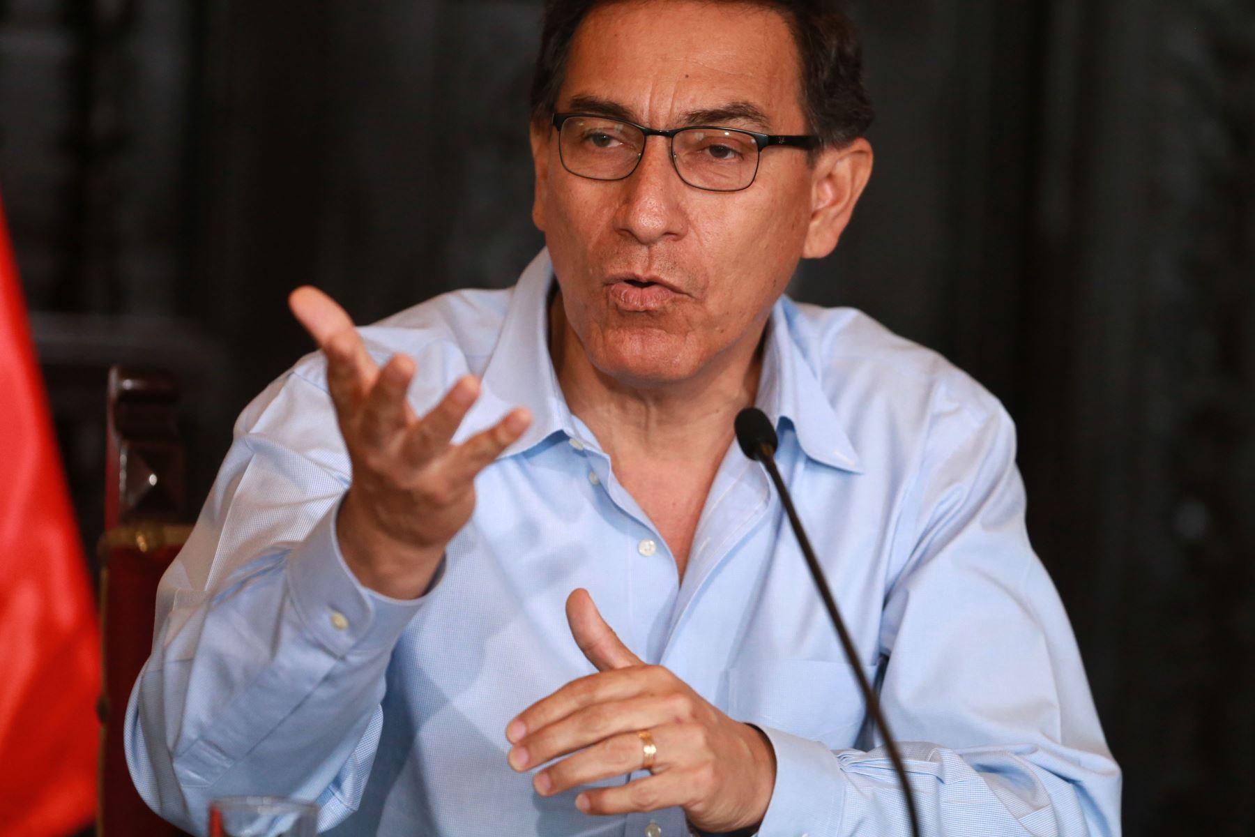 Conferencia prensa del Presidente de la República Martín Vizcarra sobre la Cumbre de las Americas.  Foto: ANDINA/Vidal Tarqui