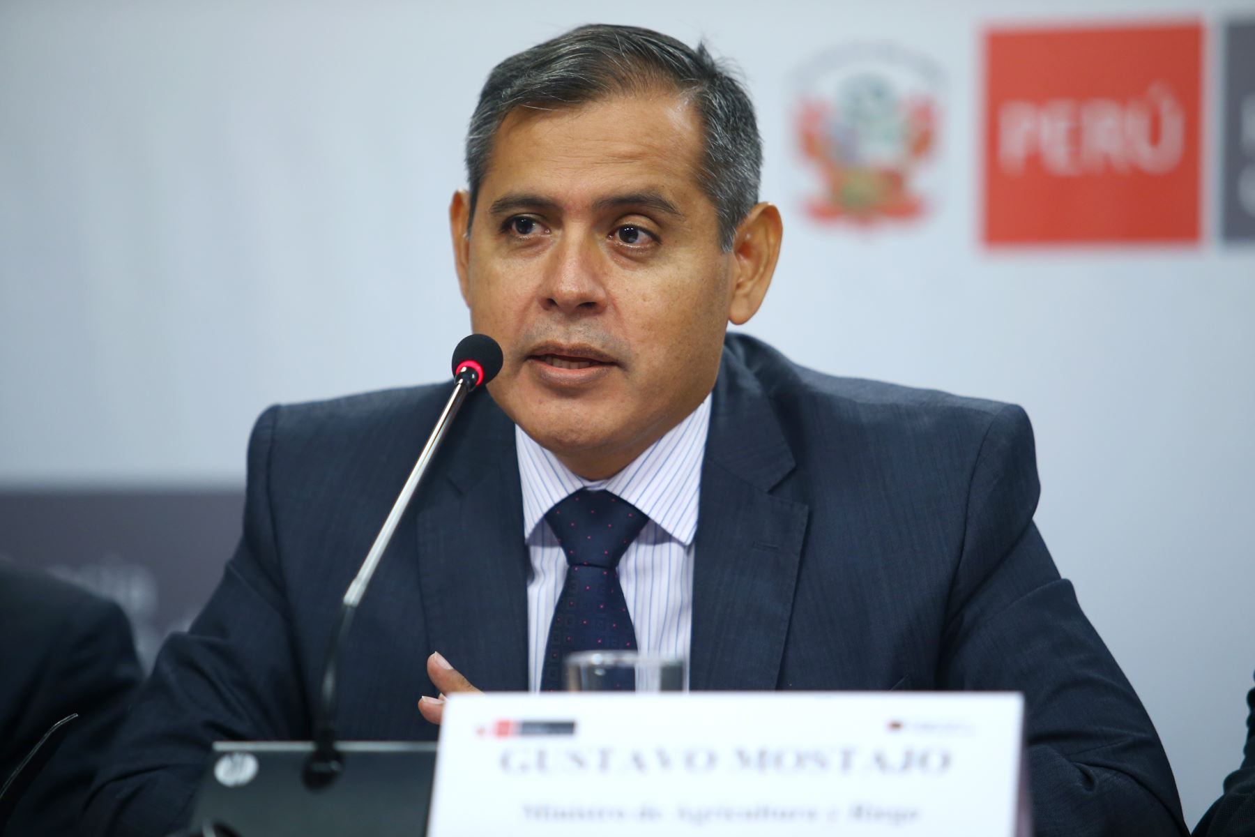 Ministro de Agricultura, Gustavo Mostajo, en conferencia de prensa tras reunión del Consejo de Ministros. Foto: ANDINA/Melina Mejía.