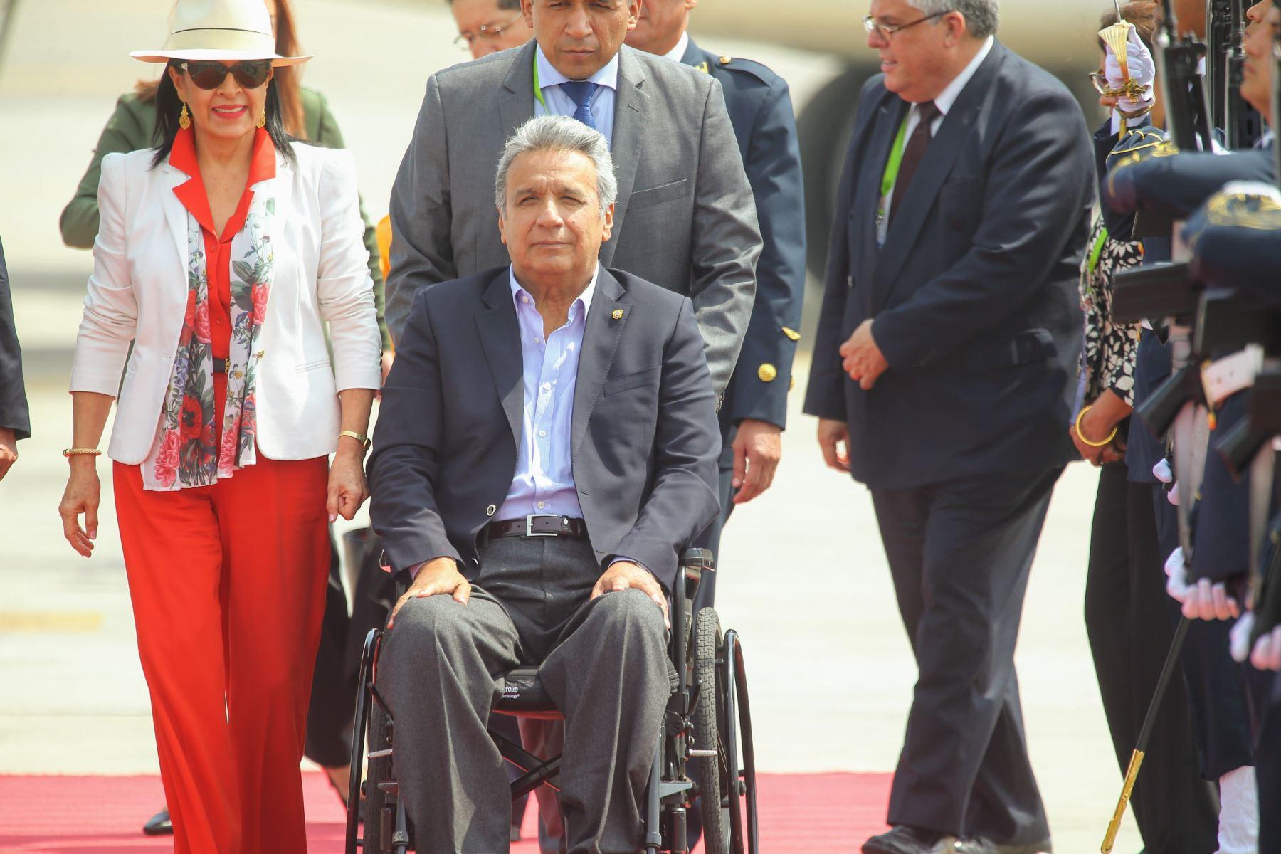 Llegada a Lima del presidente de Ecuador, Lenín Moreno, quien participará de la Cumbre de las Américas que se realizará en nuestra capital. Foto: ANDINA/Luis Iparraguirre.