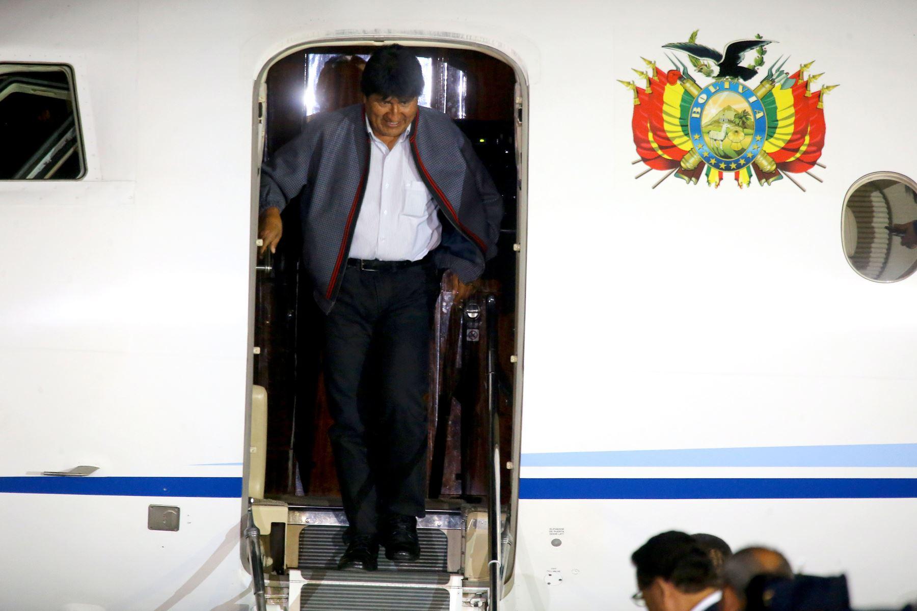 Presidente boliviano Evo Morales, llega a Lima para participar de la VIII Cumbre de las Américas. Foto: ANDINA/Luis Iparraguirre