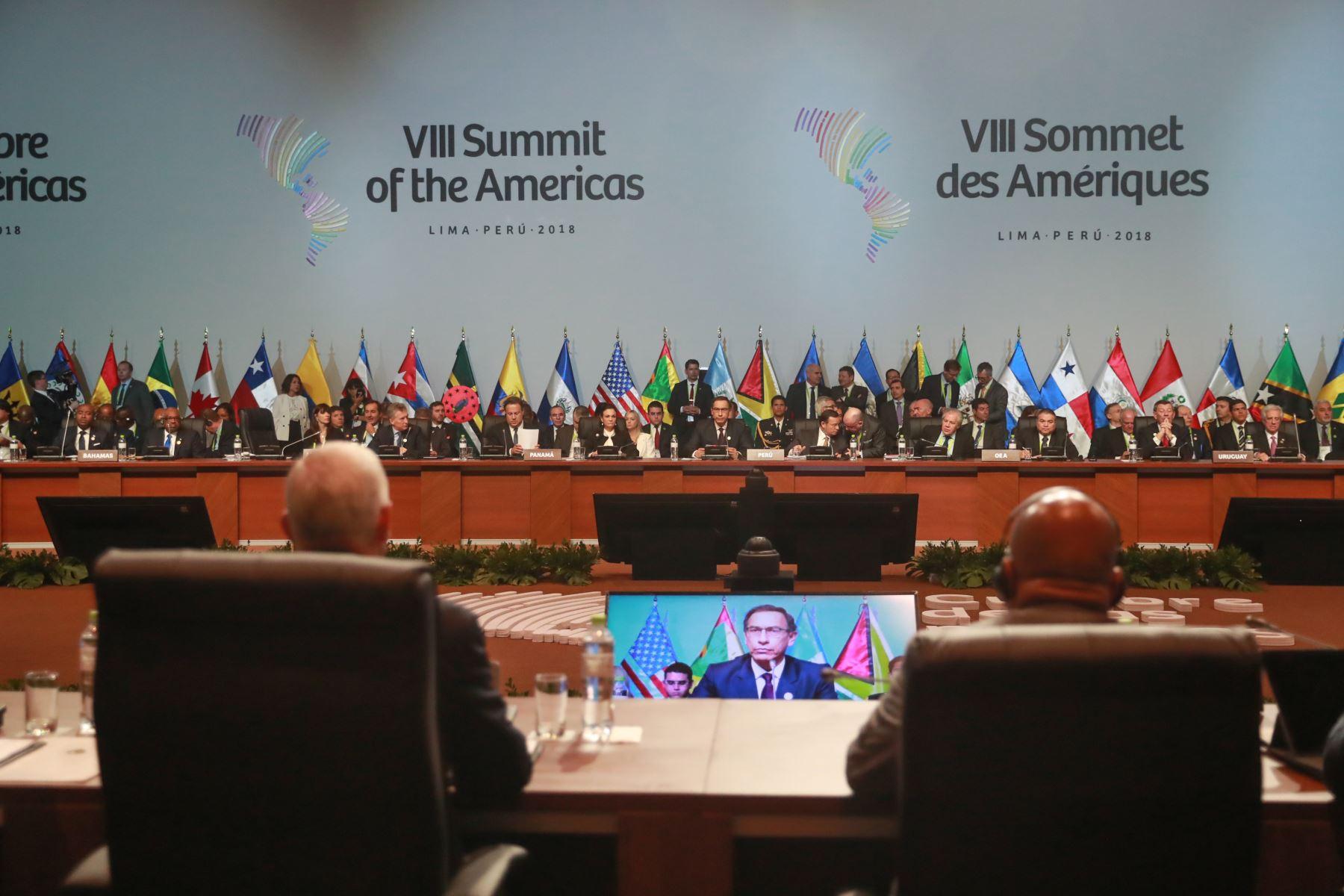 Inicia sesión plenaria de la VIII Cumbre de las Américas en Lima. Foto: AFP