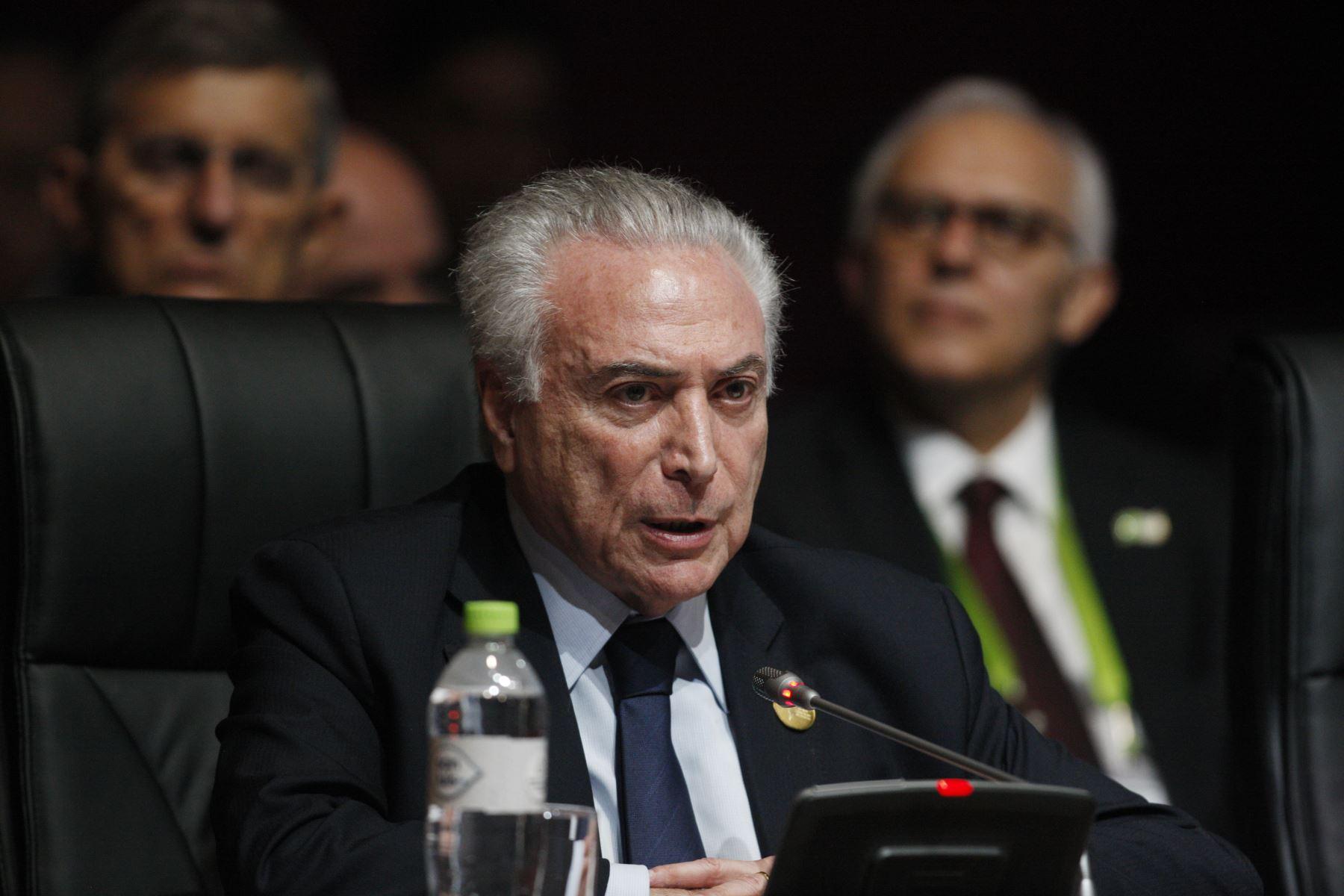 Presidente de Brasil, Michel Temer durante la sesión plenaria de la VIII Cumbre de las Américas en Lima. Foto: ANDINA/Dante Zegarra