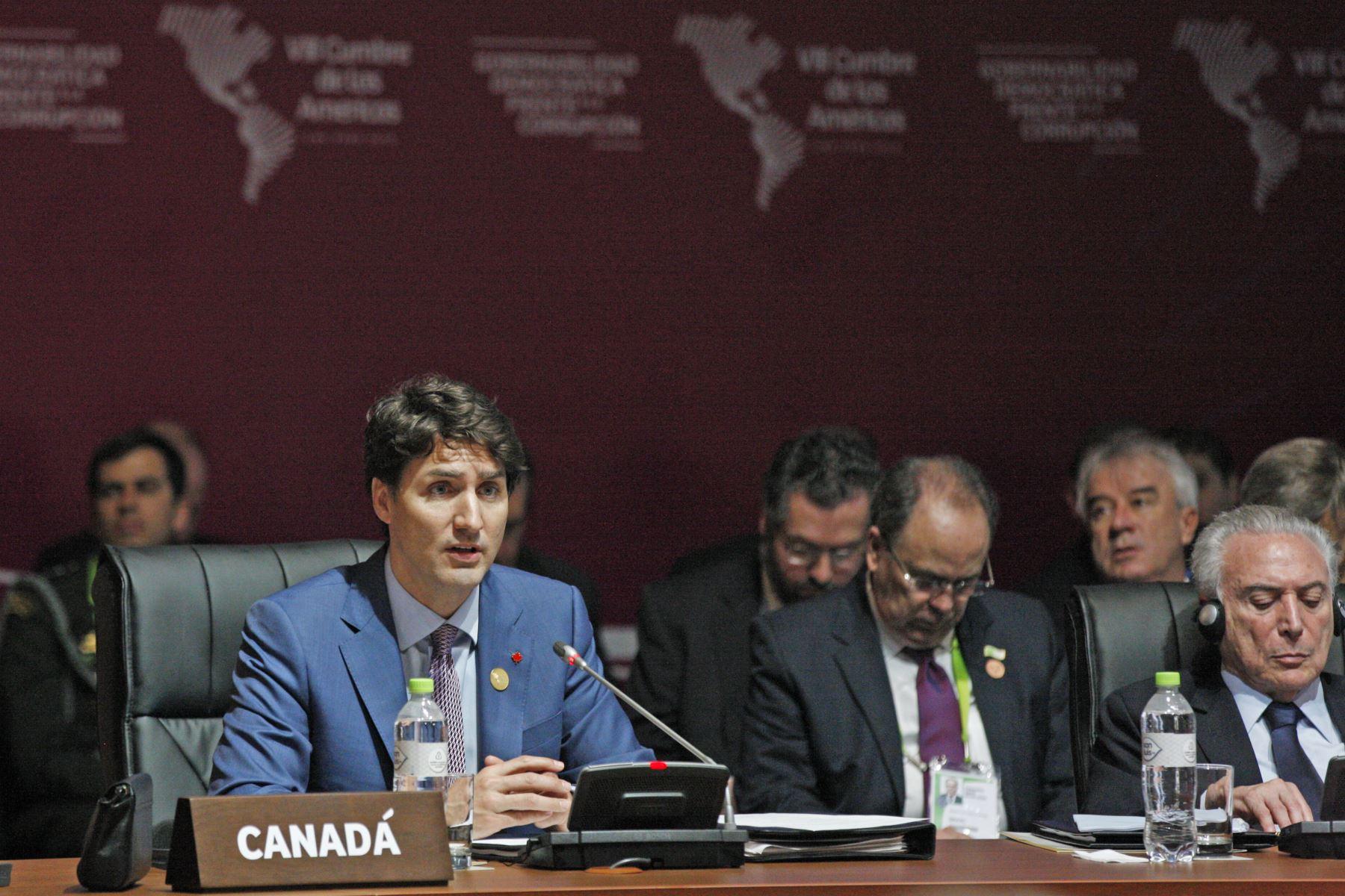 Primer Ministro de Cánada, Justin Trudeau durante la sesión plenaria de la VIII Cumbre de las Américas en Lima. Foto: ANDINA/Dante Zegarra