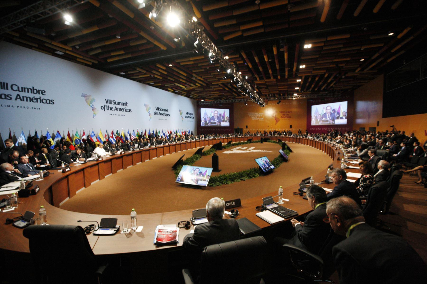 Sesión plenaria de la VIII Cumbre de las Américas en Lima. Foto: ANDINA/Dante Zegarra