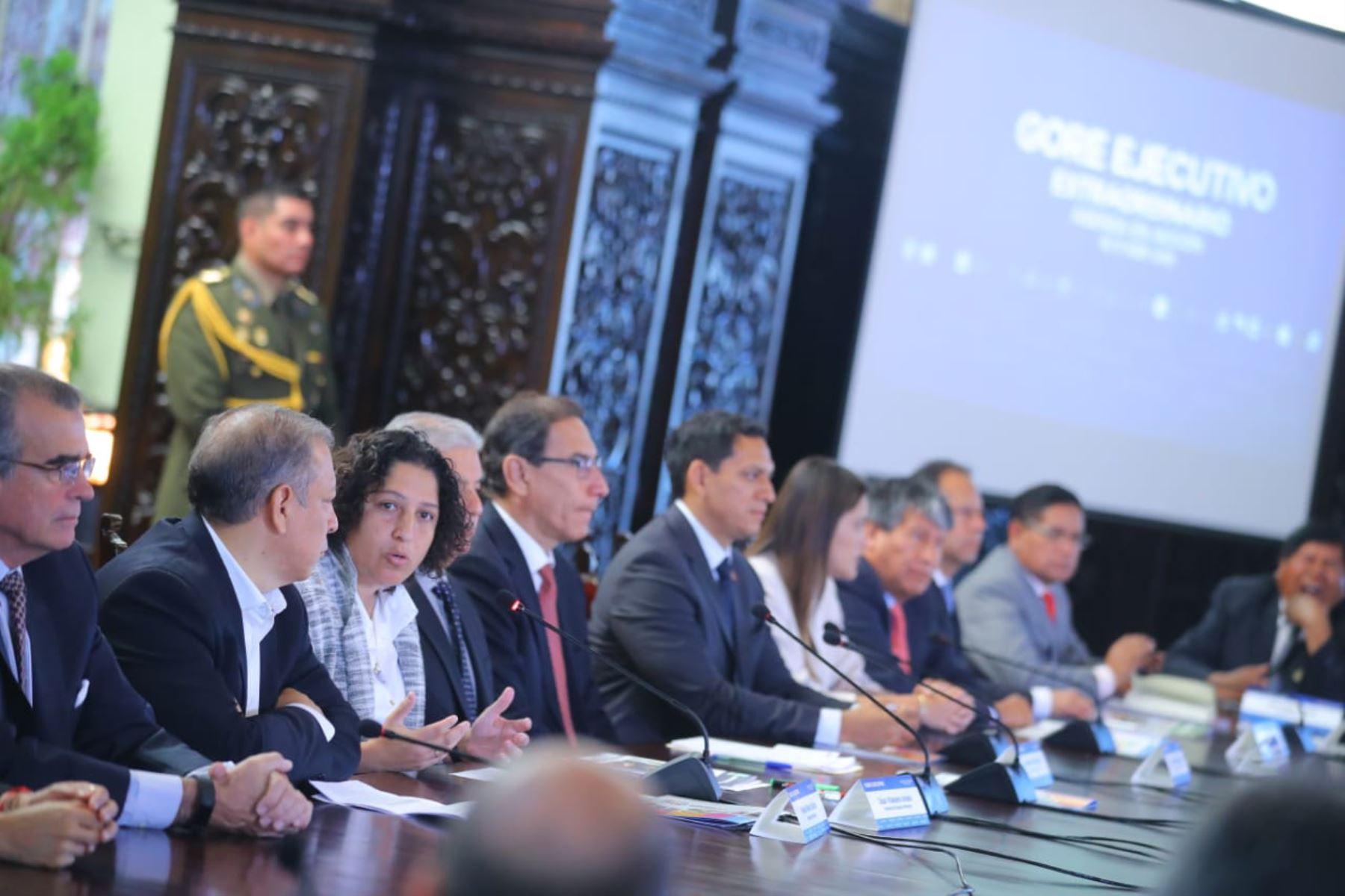 Ministra del Ambiente, Fabiola Muñoz, participa de la reunión extraordinaria del Gore-Ejecutivo. Foto: ANDINA/Prensa Presidencia.