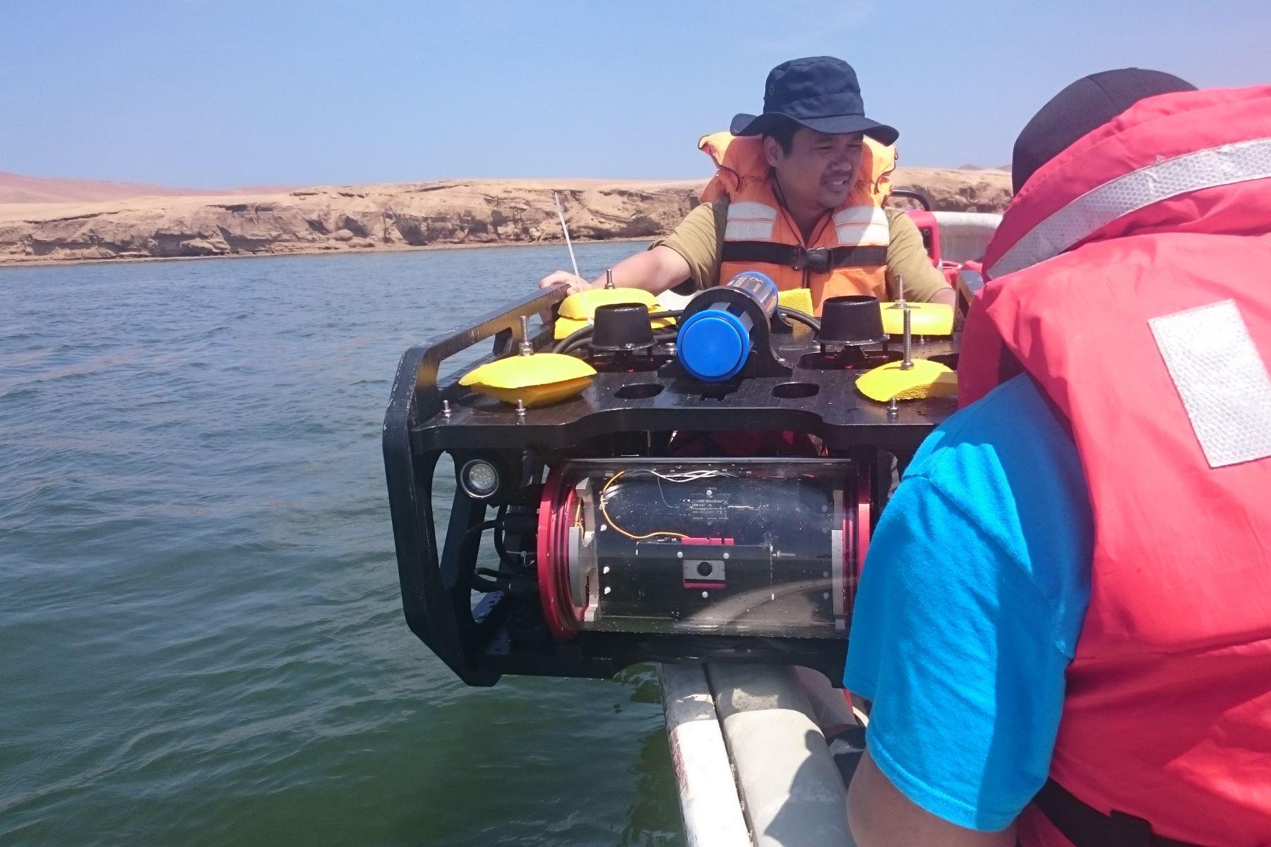 Los robots  submarinos ya fueron probados por profesionales del Instituto del Mar del Perú (Imarpe) y del Sernamp en los mares de Ica.  (Foto:PUCP)