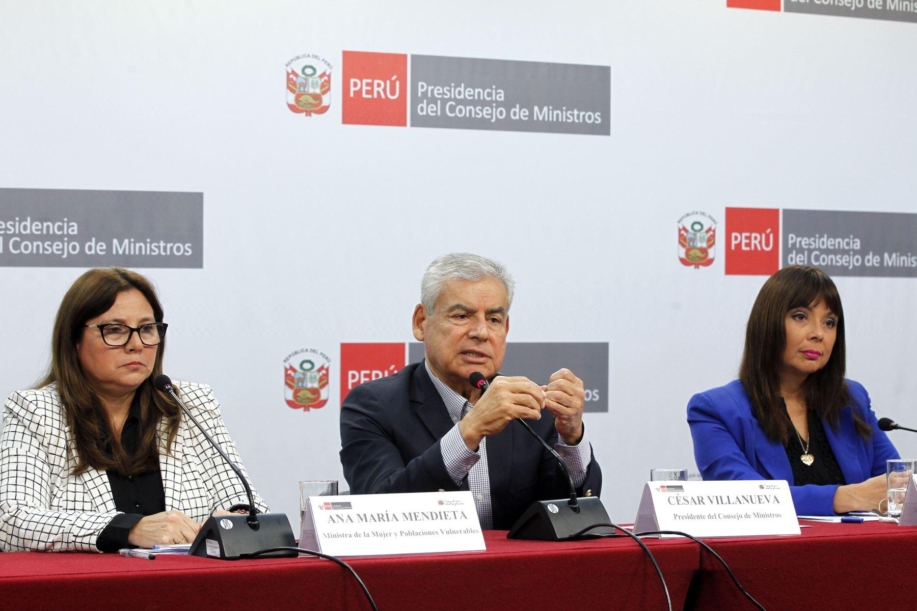 Conferencia de prensa en la PCM. Foto: ANDINA/Dante Zegarra
