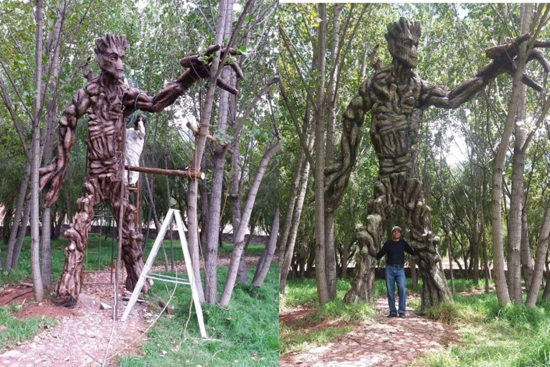 Escultura de Groots, personaje de Marvel, es sensación en humedal de Huasao, ubicado en Cusco. Foto: Cortesía/Juan Challco