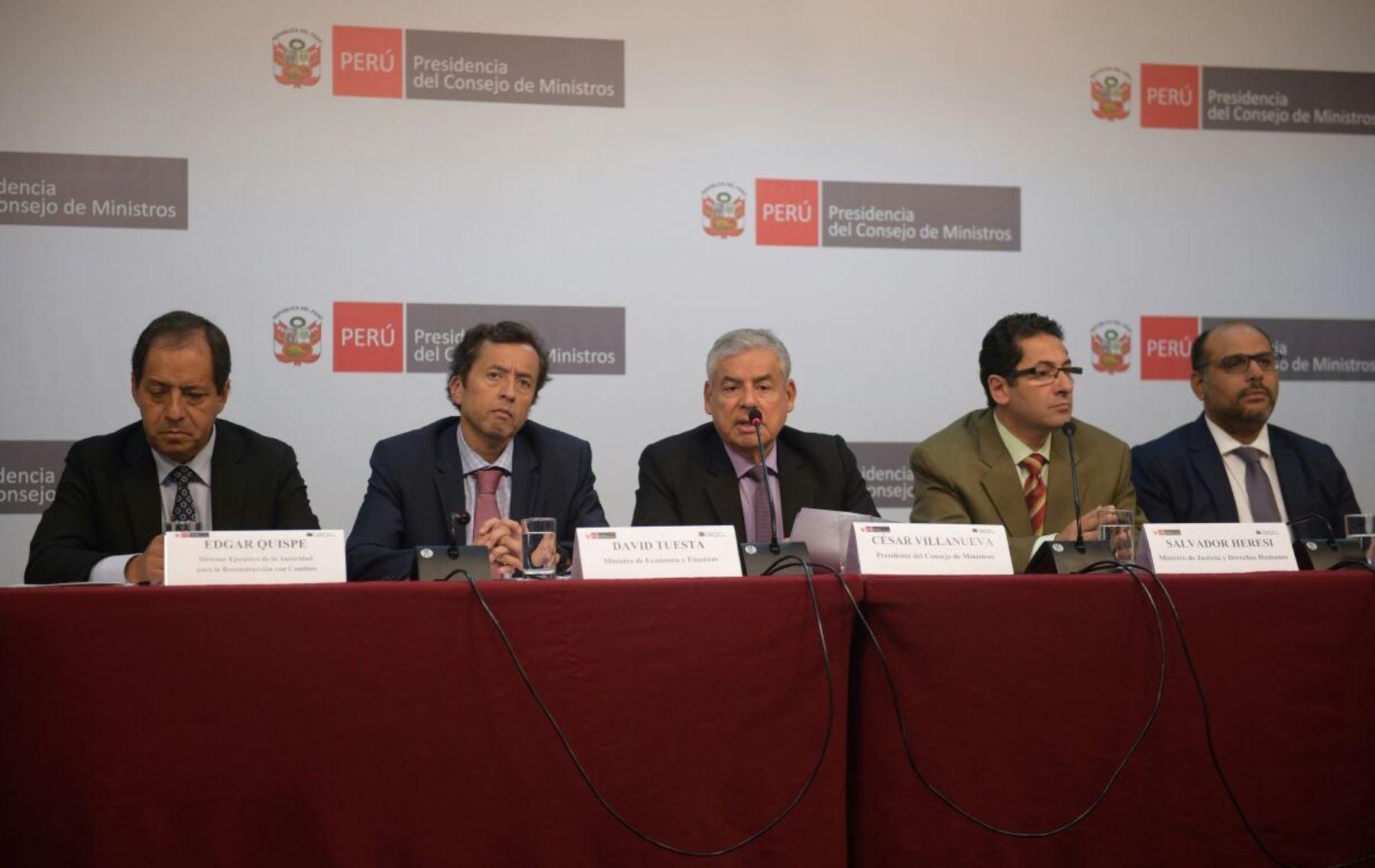 Conferencia de prensa tras la sesión del Consejo de Ministros de hoy. Foto: ANDINA/Difusión.