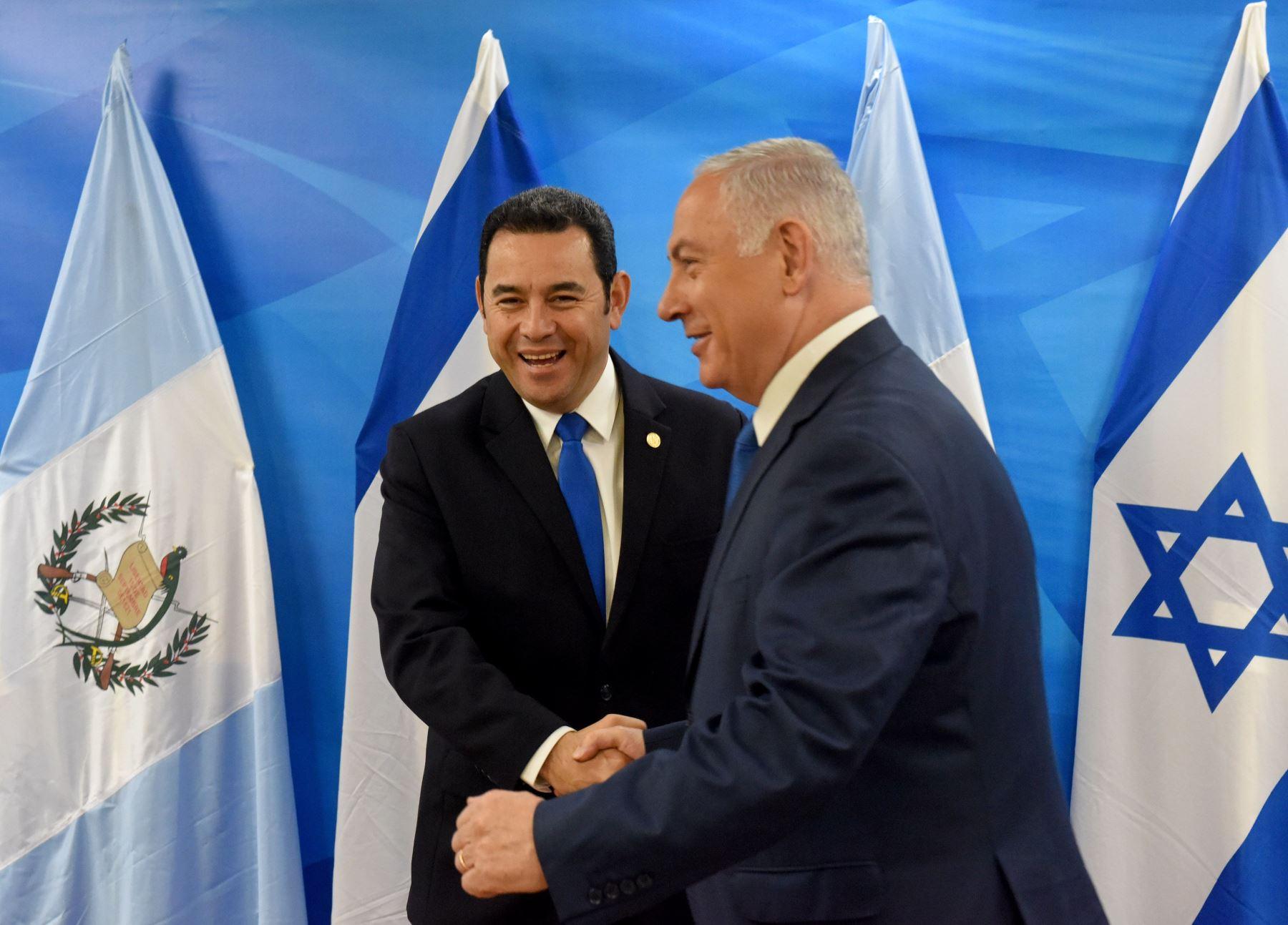 Presidente de Guatemala, Jimmy Morales y el Primer Ministro israelí Benjamin Netanyahu Foto: AFP
