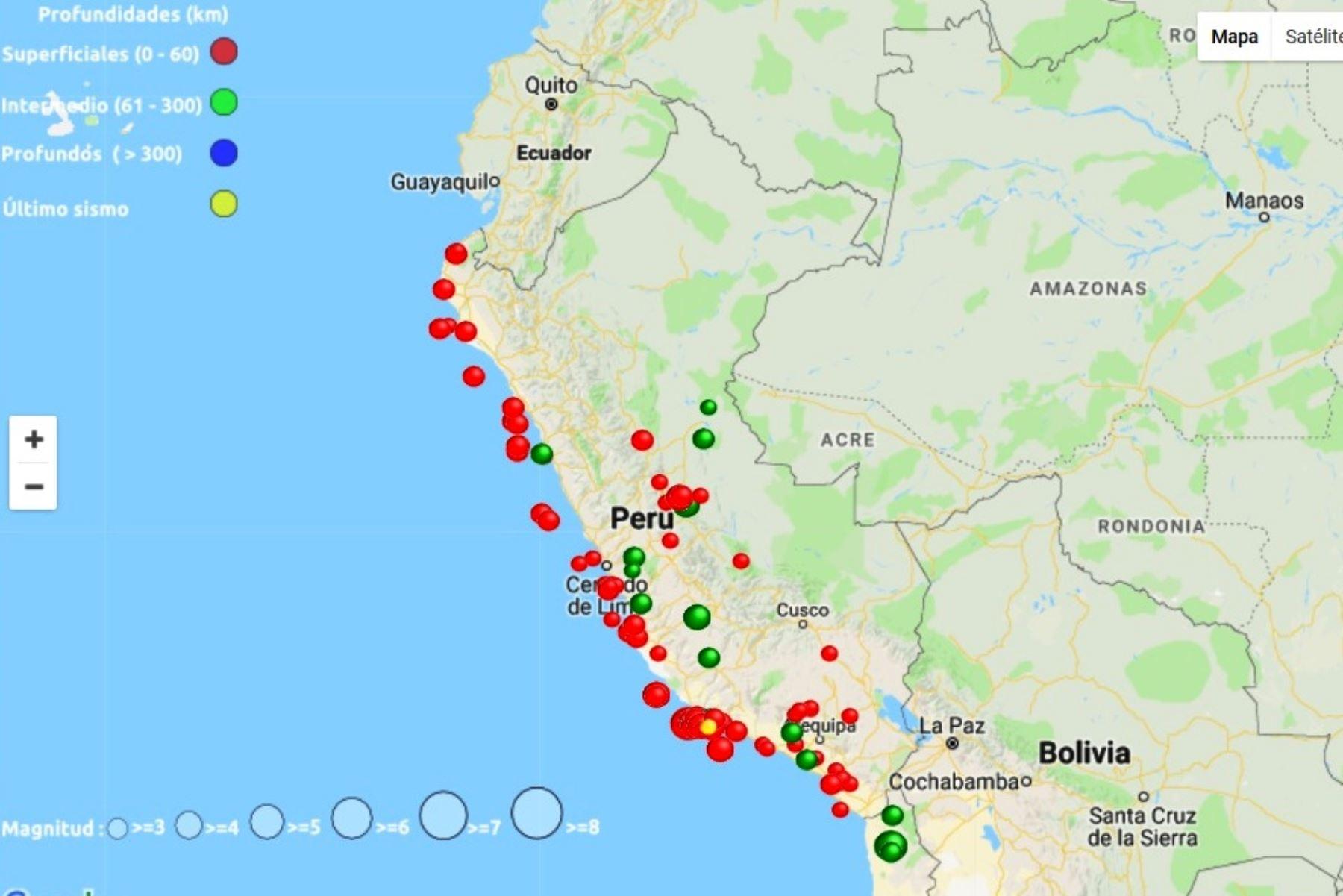 El Instituto Geofísico del Perú (IGP) informó que el mes de octubre reportó un total de 62 sismos, de los cuales 45 fueron percibidos por la población y ninguno generó daños a la integridad de las personas. La región del Cusco registró la mayor cantidad de eventos sísmicos, con 19 temblores. ANDINA/Difusión
