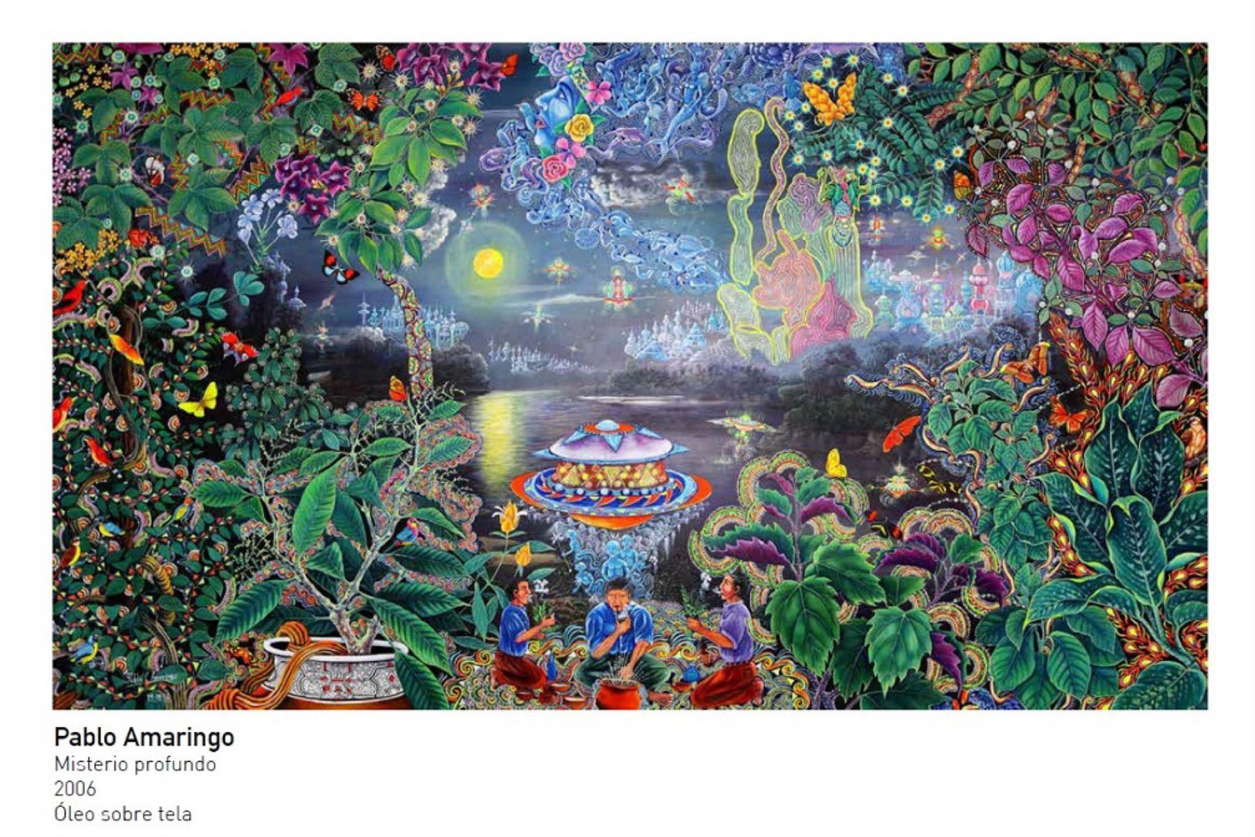 Misterio profundo de Pablo Amaringo será una de las piezas de arte amazónico que se exhibirá en la Casa Perú de Moscú que instalará Promperú por el Mundial de Fútbol Rusia 2018. ANDINA/Difusión