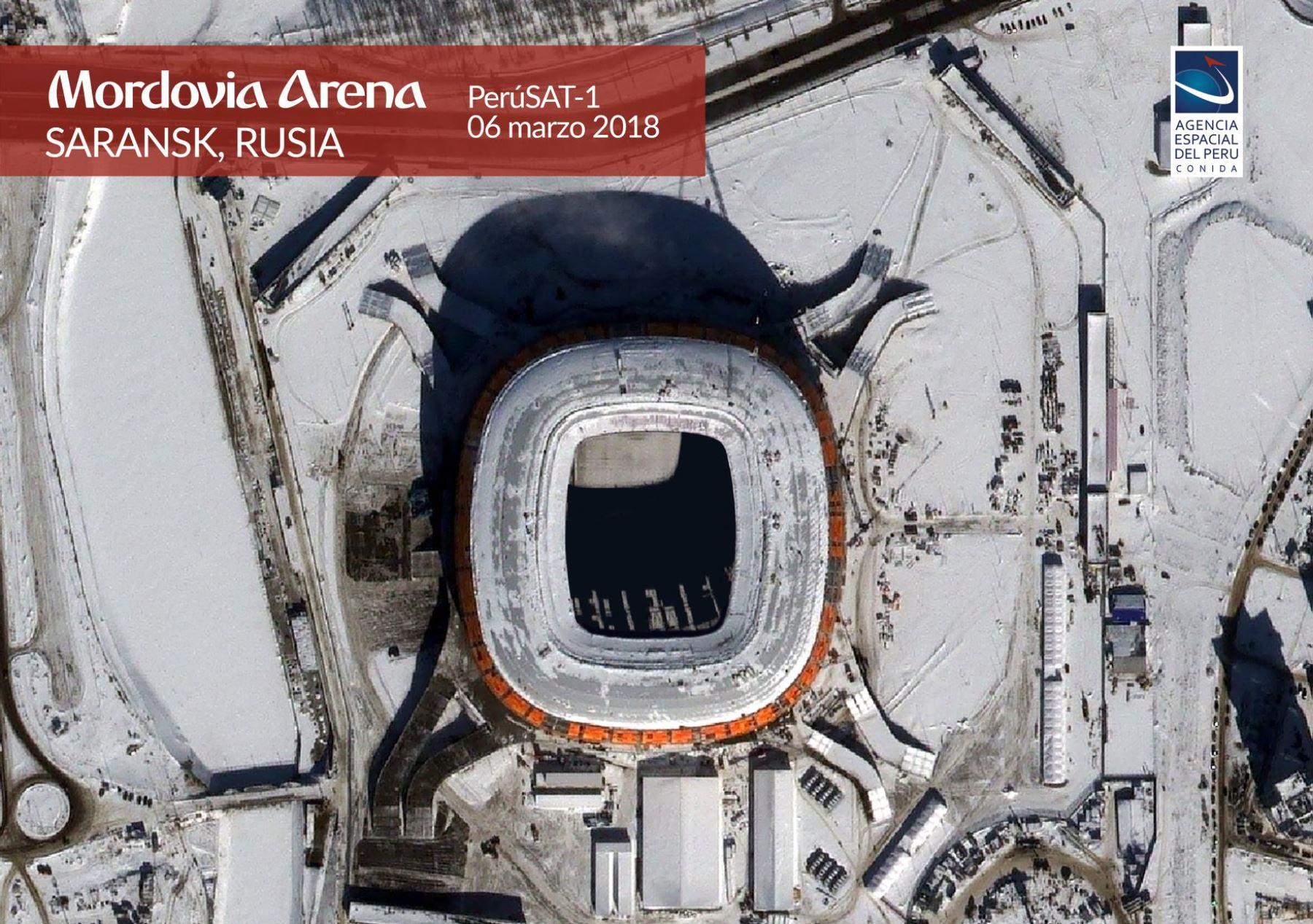 Estadio Mordovia Arenavista desde la Agencia Espacial del Perú-CONIDA .Foto: ANDINA/Norman Córdova